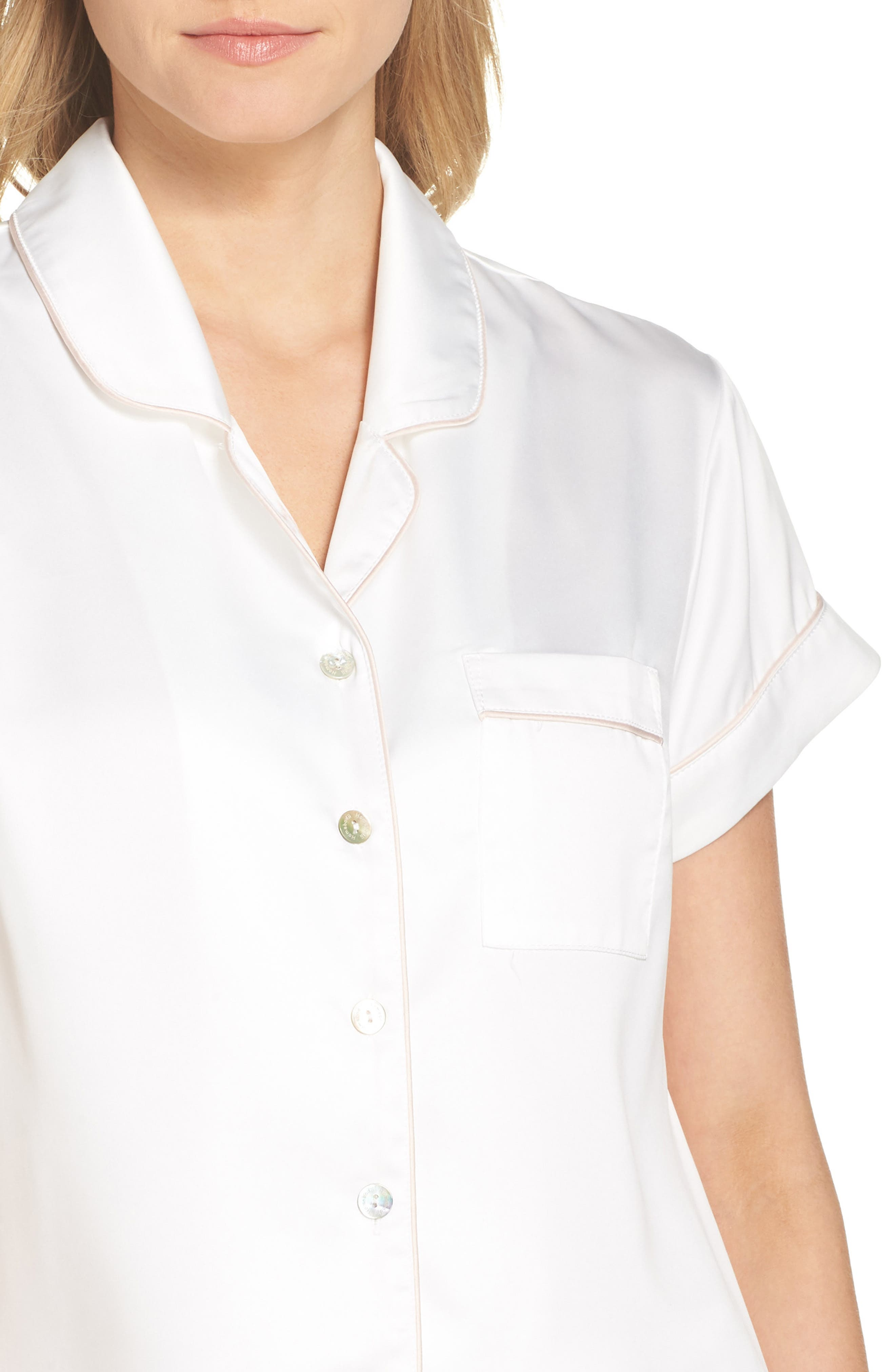 Piped Short Pajamas,                             Alternate thumbnail 5, color,                             White