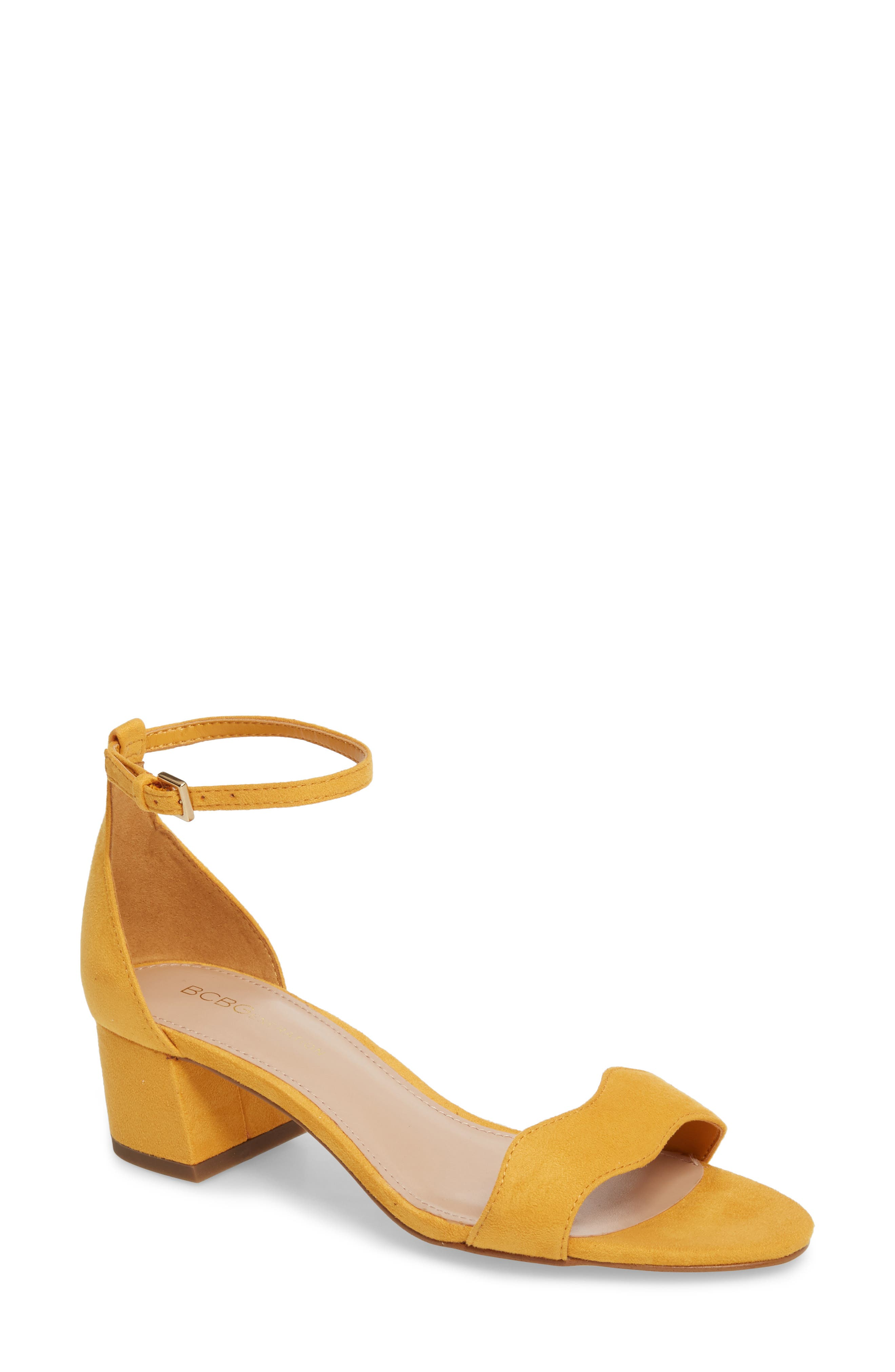 Farlyn Ankle Strap Sandal,                             Main thumbnail 1, color,                             Marigold Faux Leather