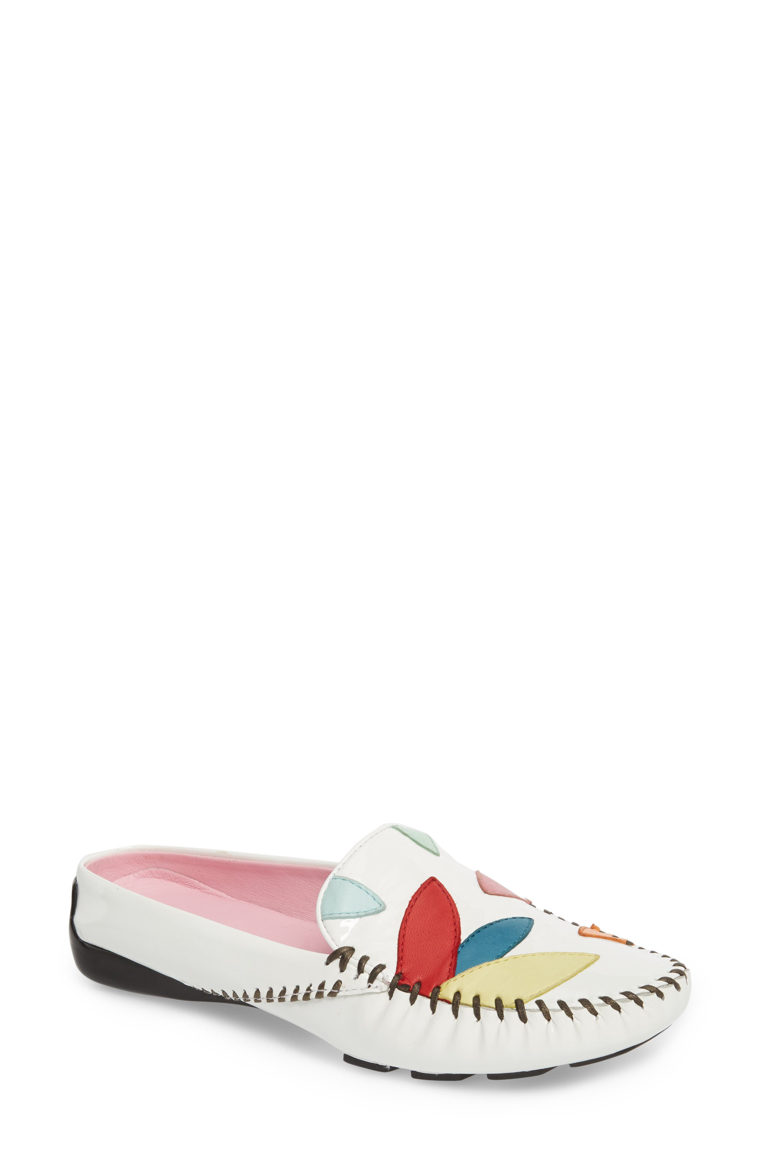 Rio Moccasin Mule,                             Main thumbnail 1, color,                             White Combo Leather