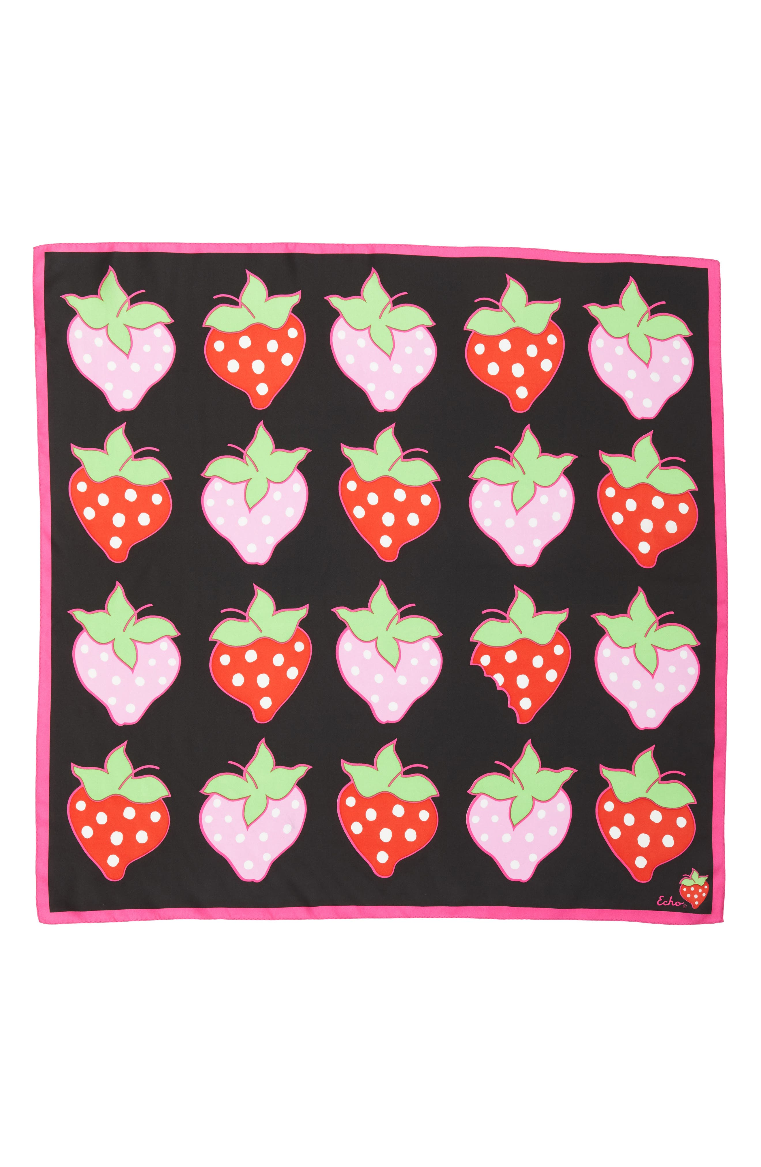 Strawberry Patch Square Silk Scarf,                             Alternate thumbnail 3, color,                             Black