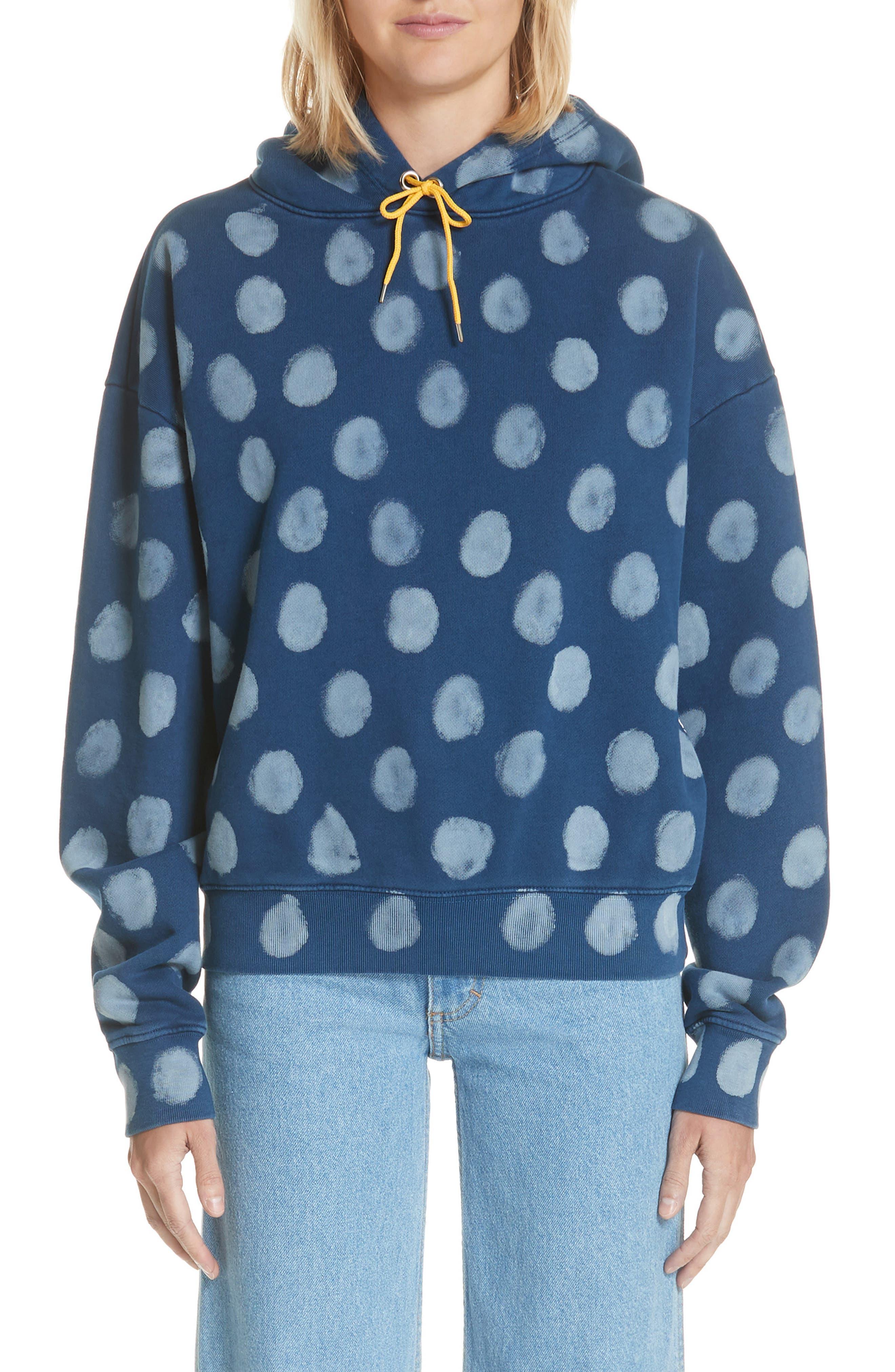Crop Polka Dot Pullover Hoodie,                         Main,                         color, Indigo Dot