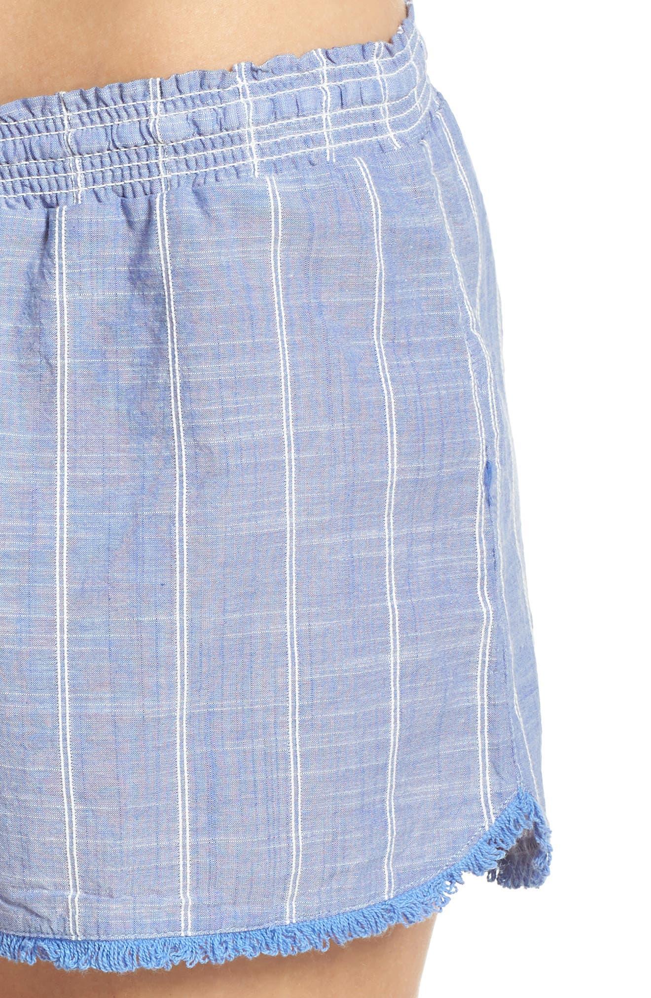 Stripe Short Pajamas,                             Alternate thumbnail 4, color,                             Blue