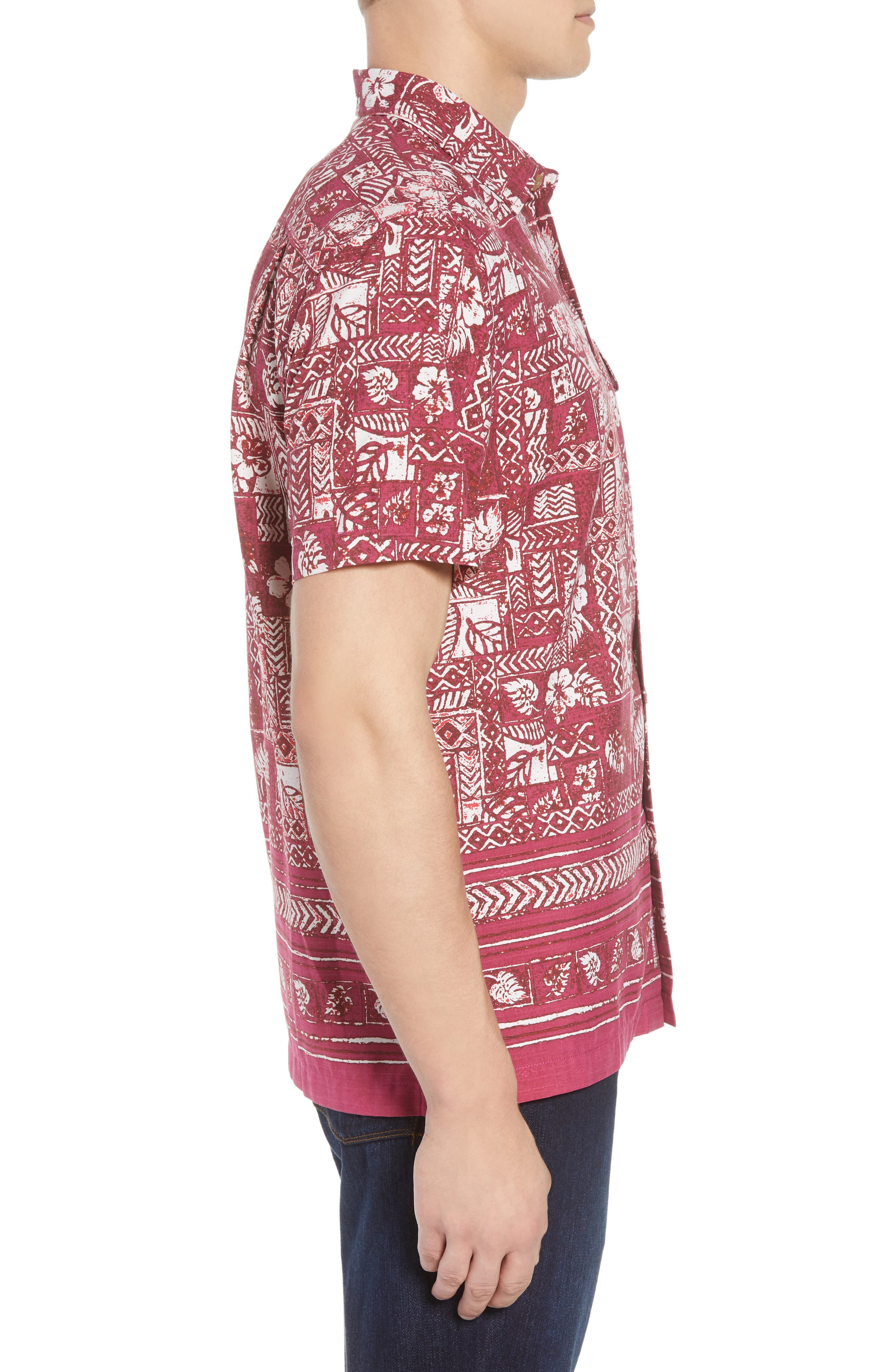 Veracruz Border Tiles Silk Blend Camp Shirt,                             Alternate thumbnail 4, color,                             Beet Red