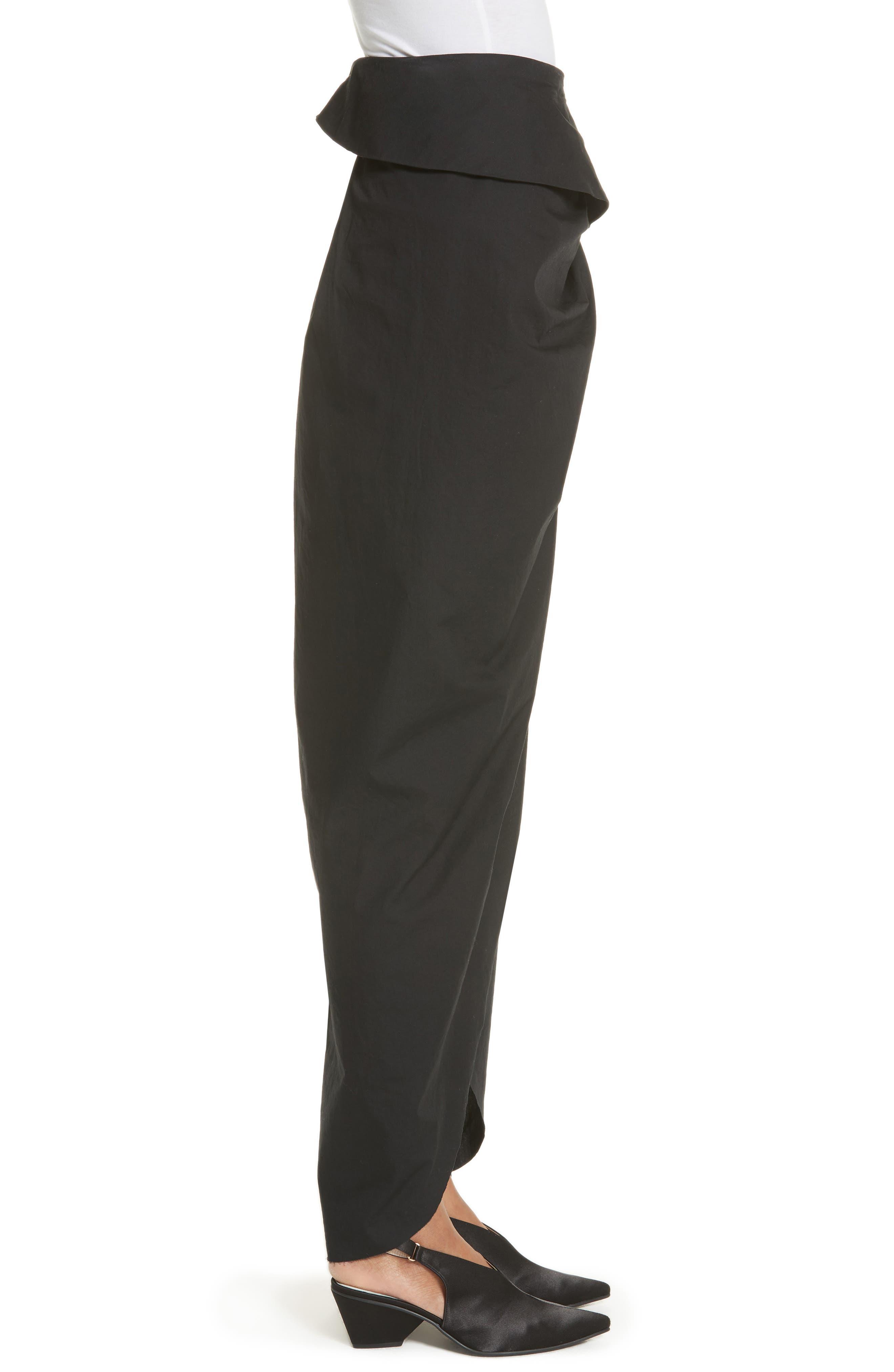 High Waist Wrap Skirt,                             Alternate thumbnail 3, color,                             Black