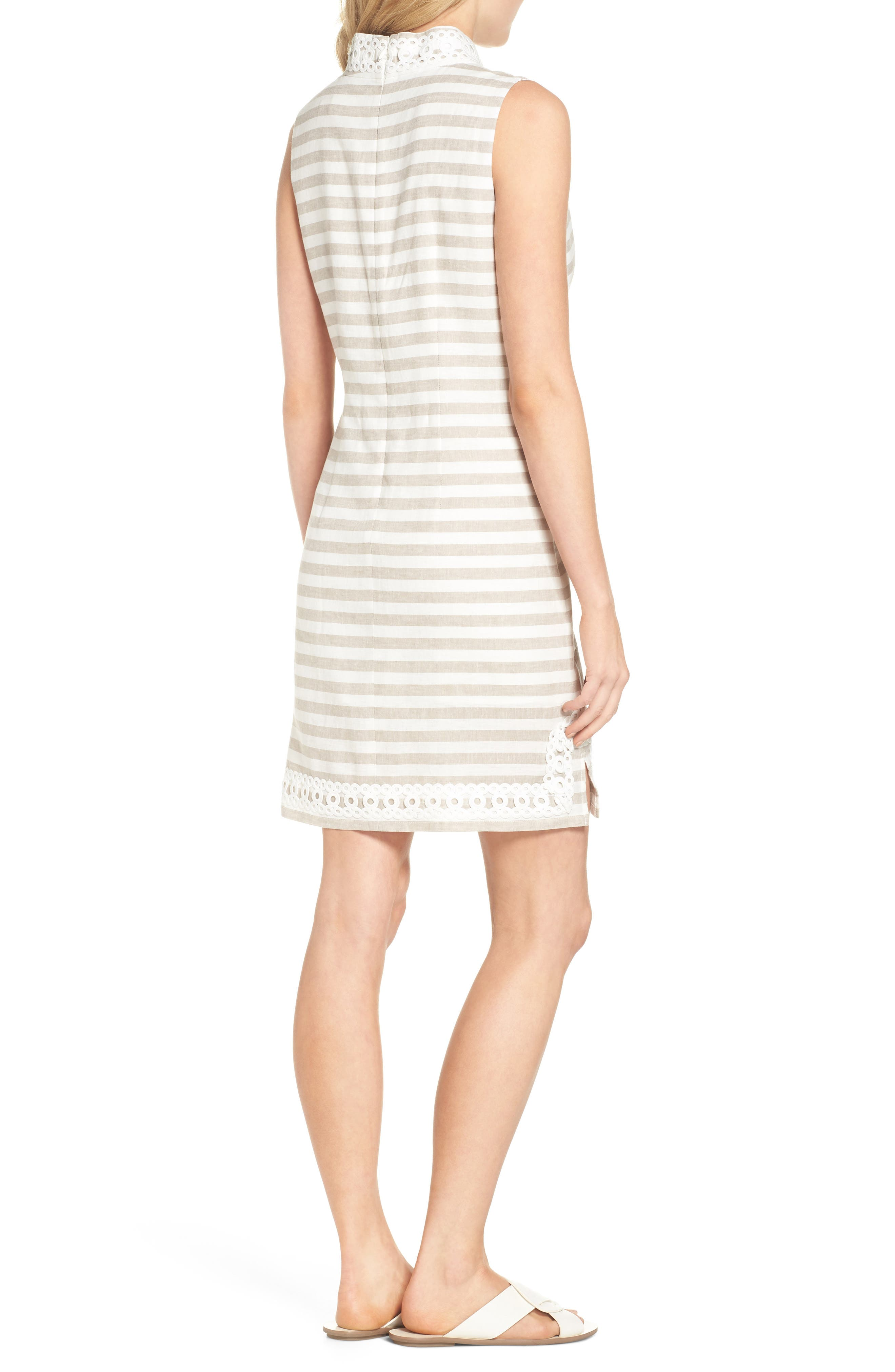 Stripe Linen & Cotton Blend Dress,                             Alternate thumbnail 2, color,                             Natural