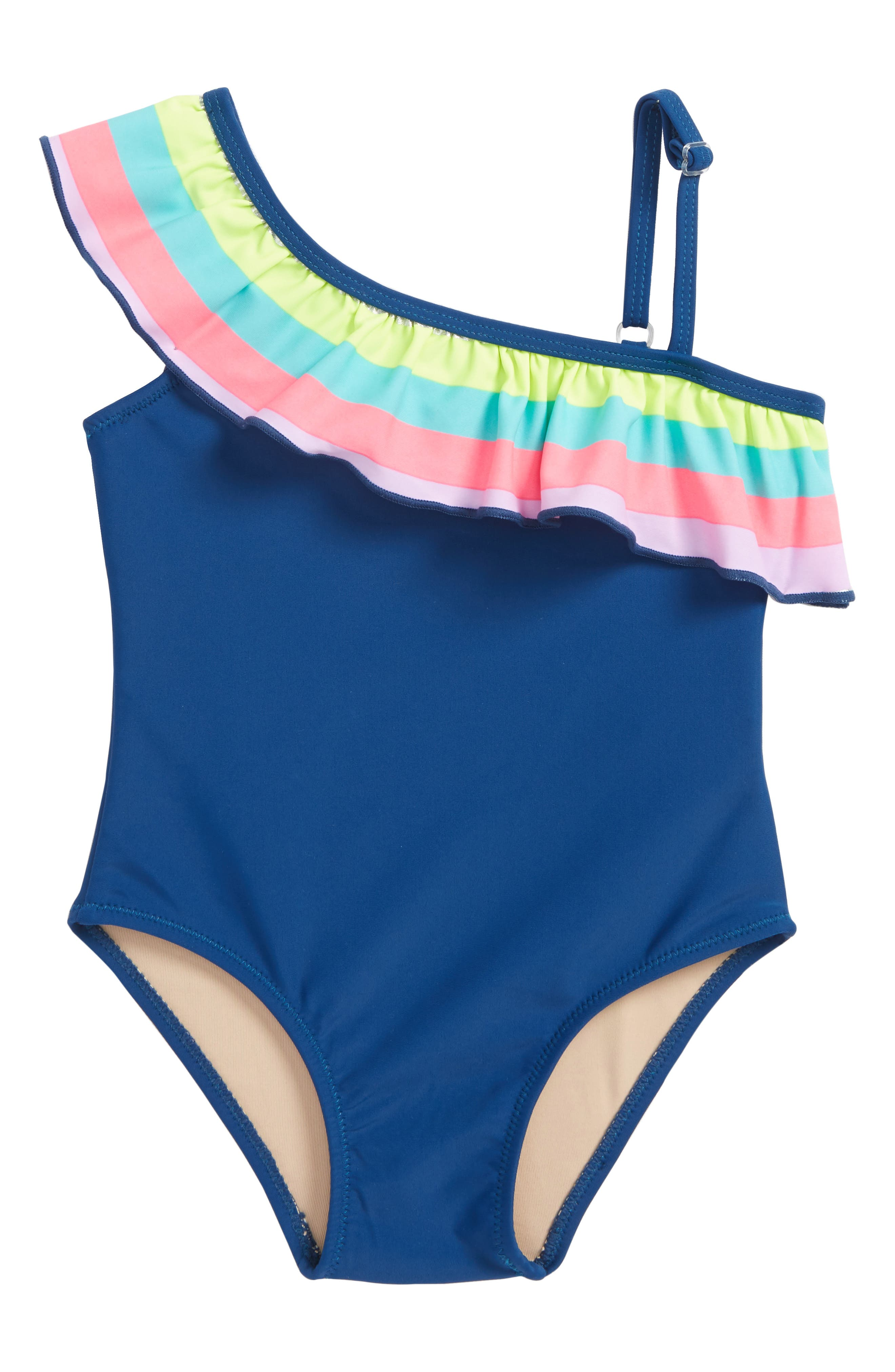 One Shoulder One-Piece Swimsuit,                         Main,                         color, Navy Multi