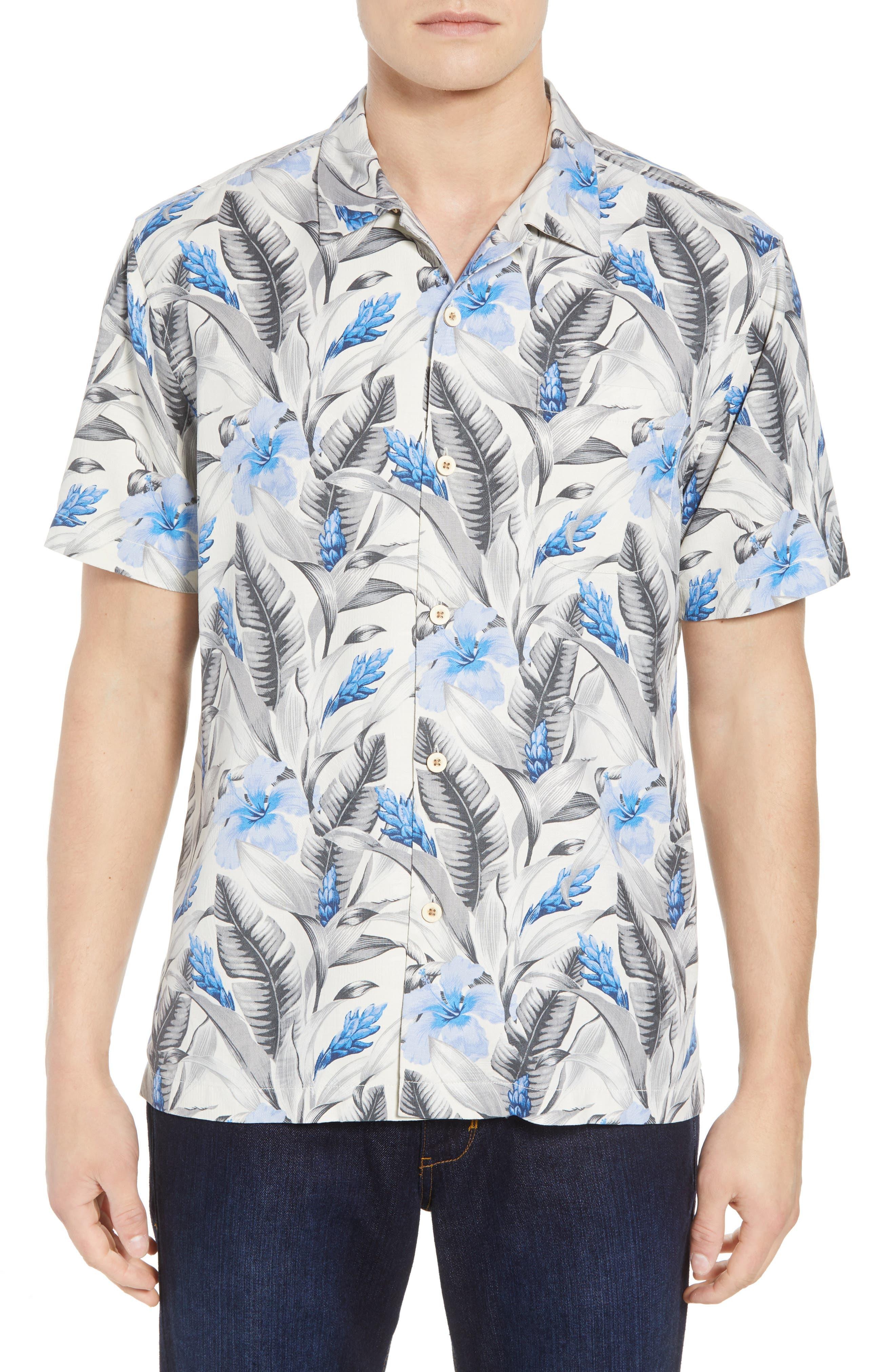 Tulum Bloom Silk Camp Shirt,                             Main thumbnail 1, color,                             Marble Cream