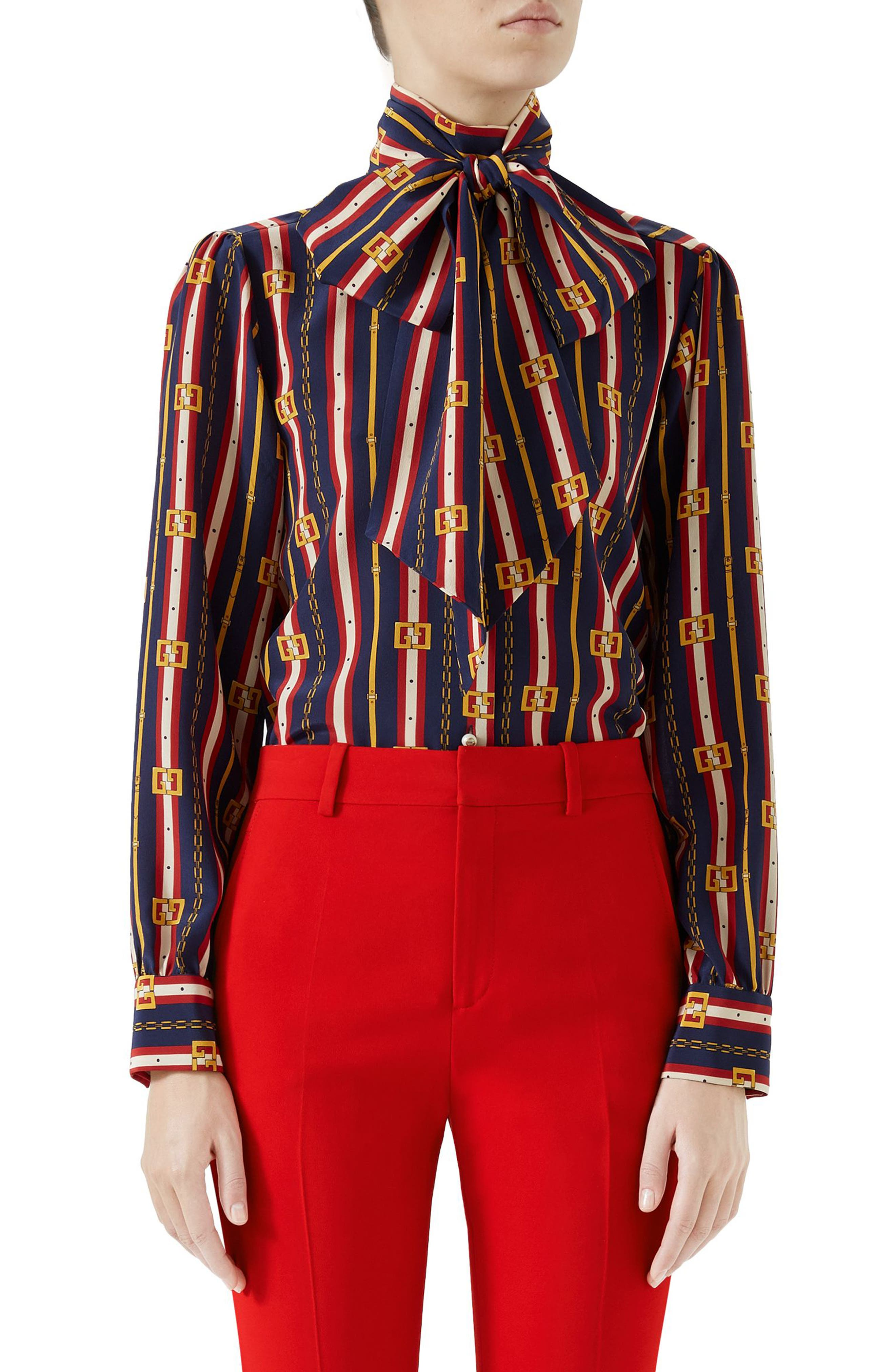 Chain Belt Print Silk Bow Neck Blouse,                         Main,                         color, Blue/ Red Print