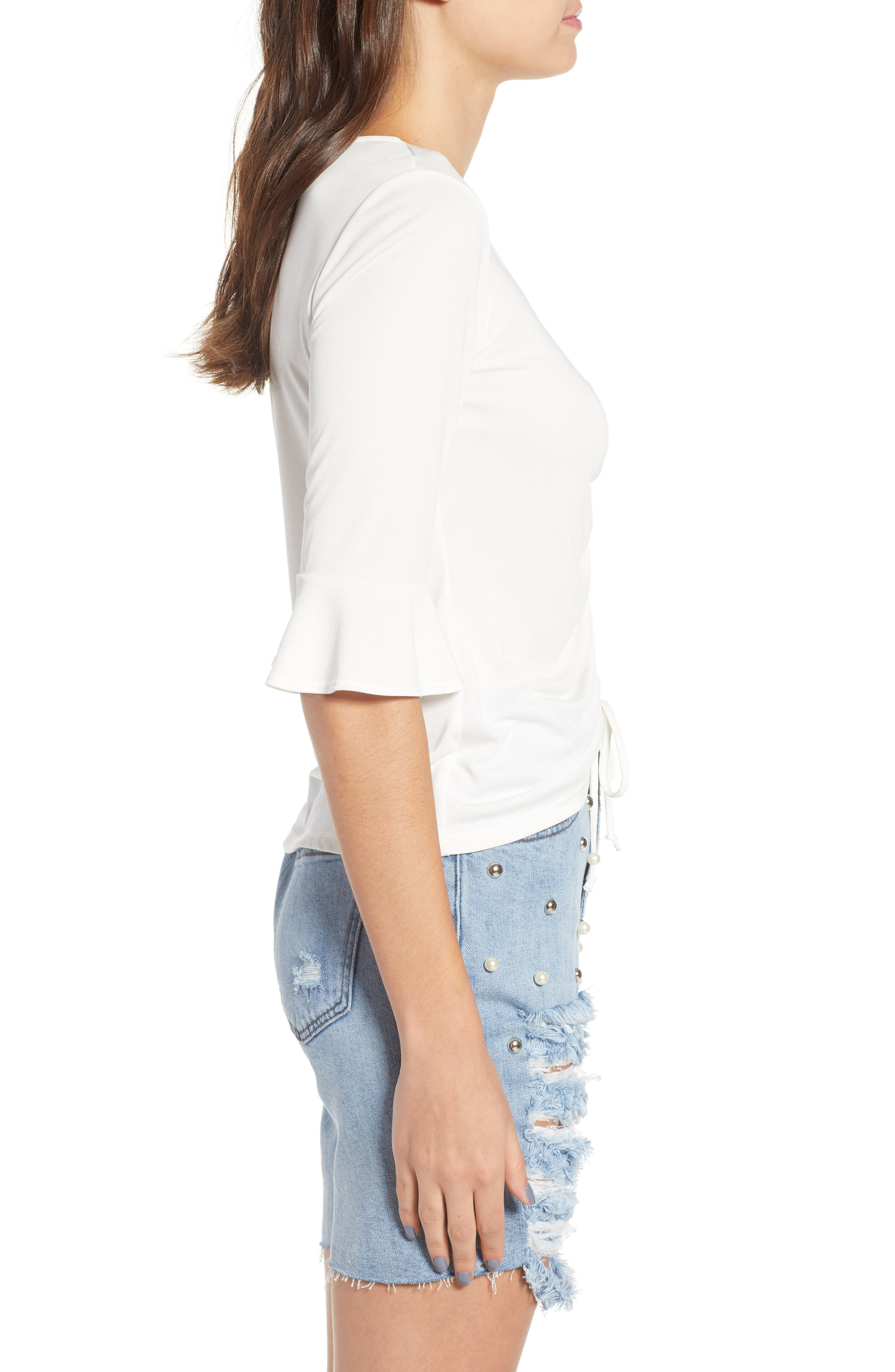 Cinch Front Tee,                             Alternate thumbnail 3, color,                             Ivory