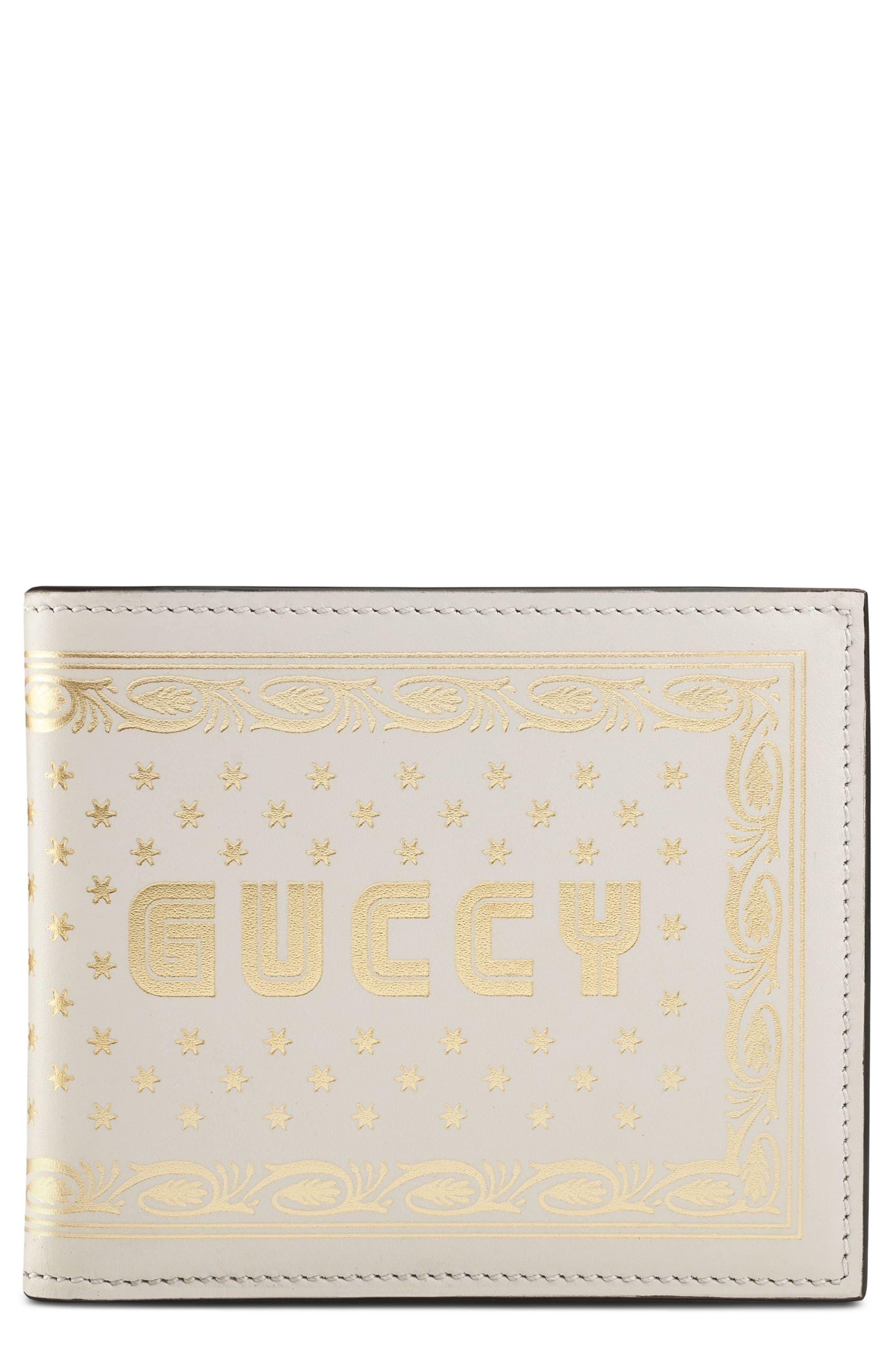 Guccy Print Leather Wallet,                         Main,                         color, White/ Gold