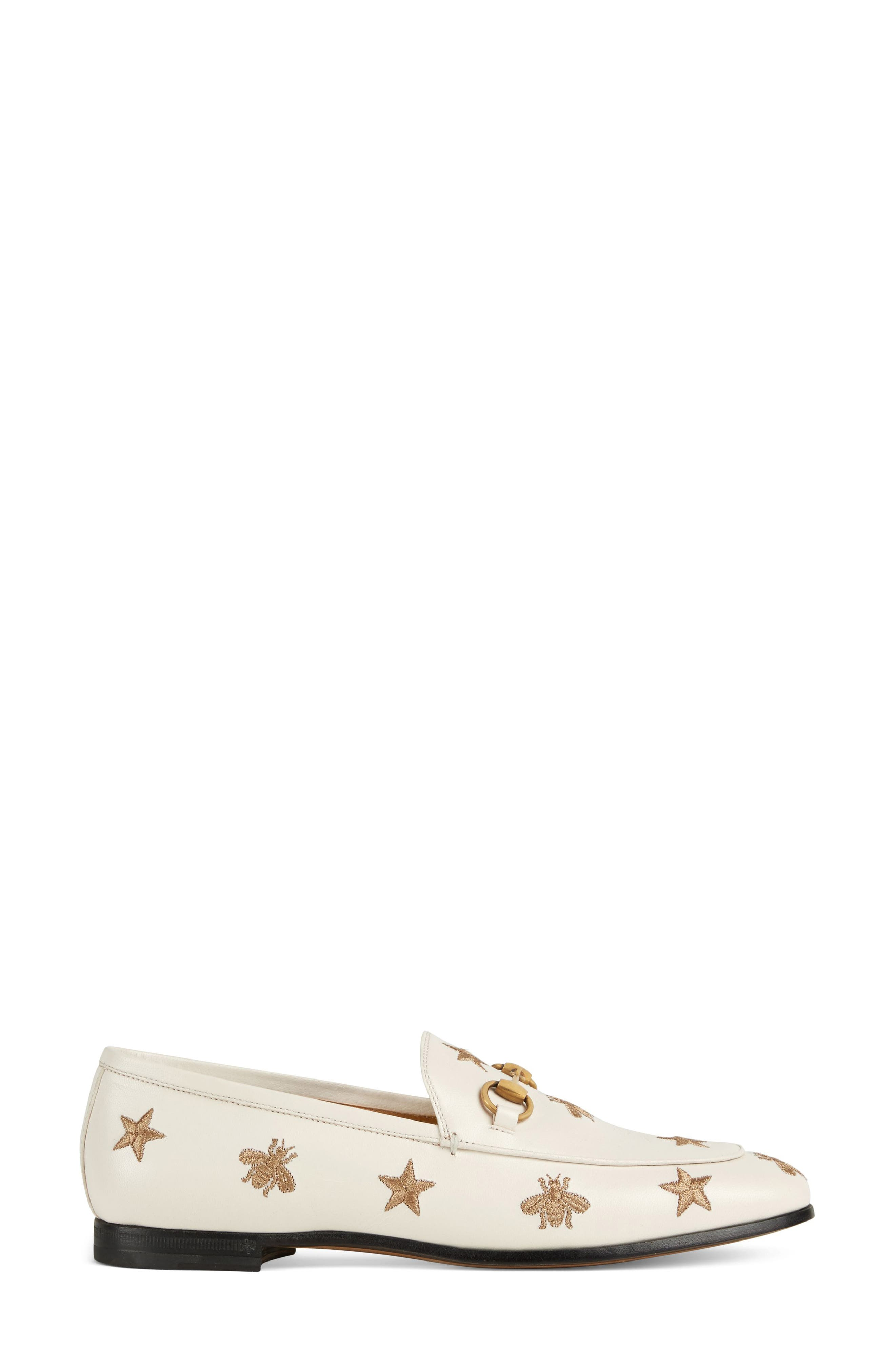 Jordaan Embroidered Bee Loafer,                             Alternate thumbnail 2, color,                             Mystic White