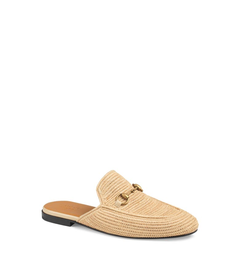f64d59abc83 Gucci King Woven-Straw Backless Loafers In Natural