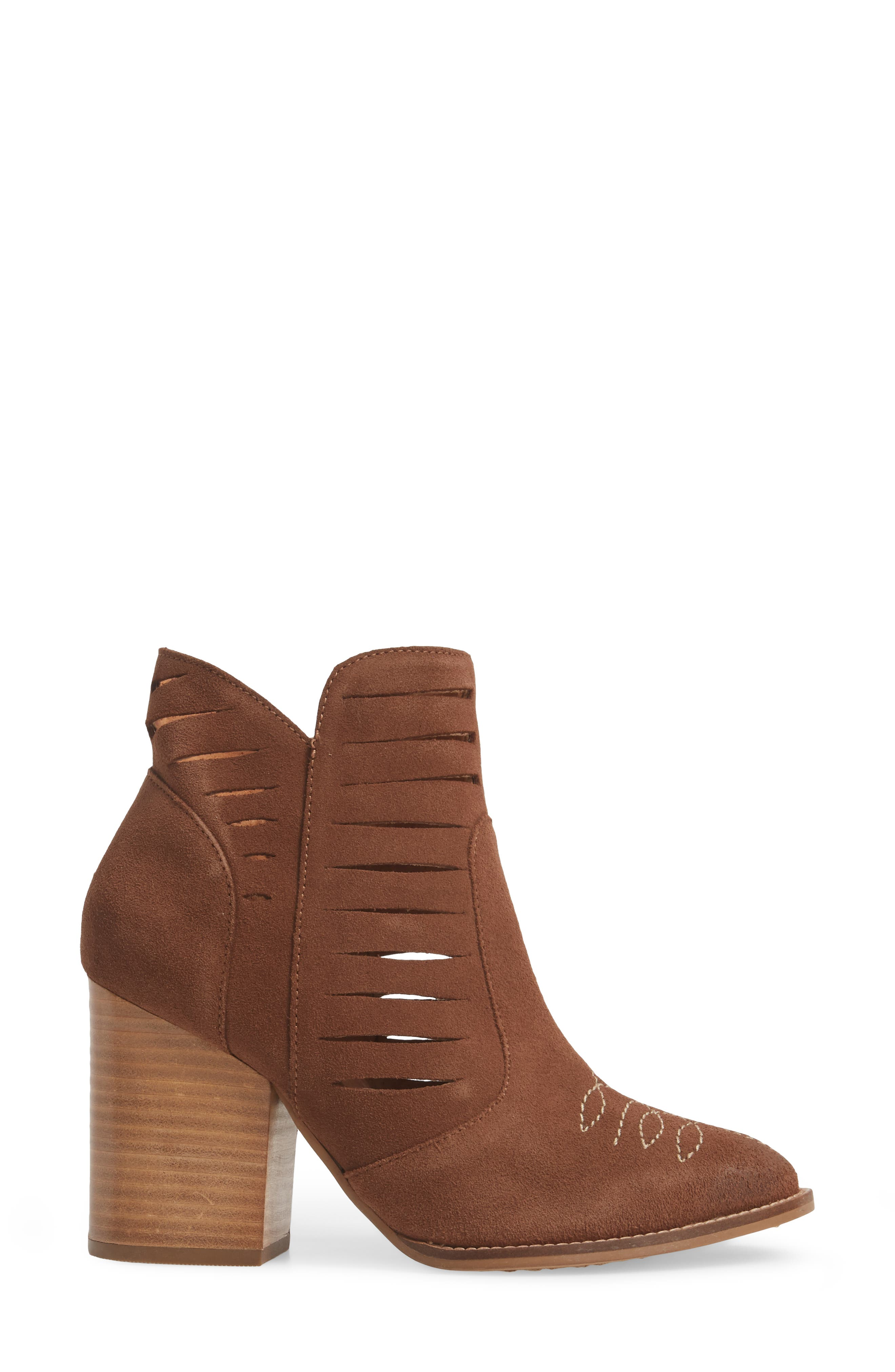 Adriana Western Bootie,                             Alternate thumbnail 3, color,                             Whiskey Suede