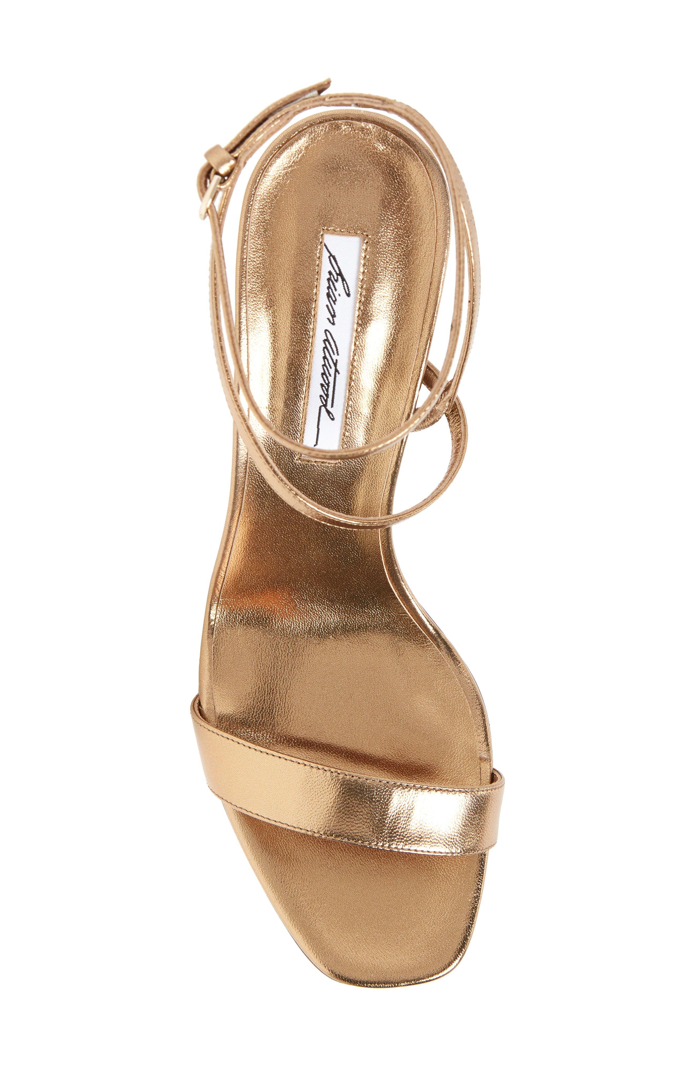 Sienna Ankle Strap Sandal,                             Alternate thumbnail 5, color,                             Bronze Metal Nappa