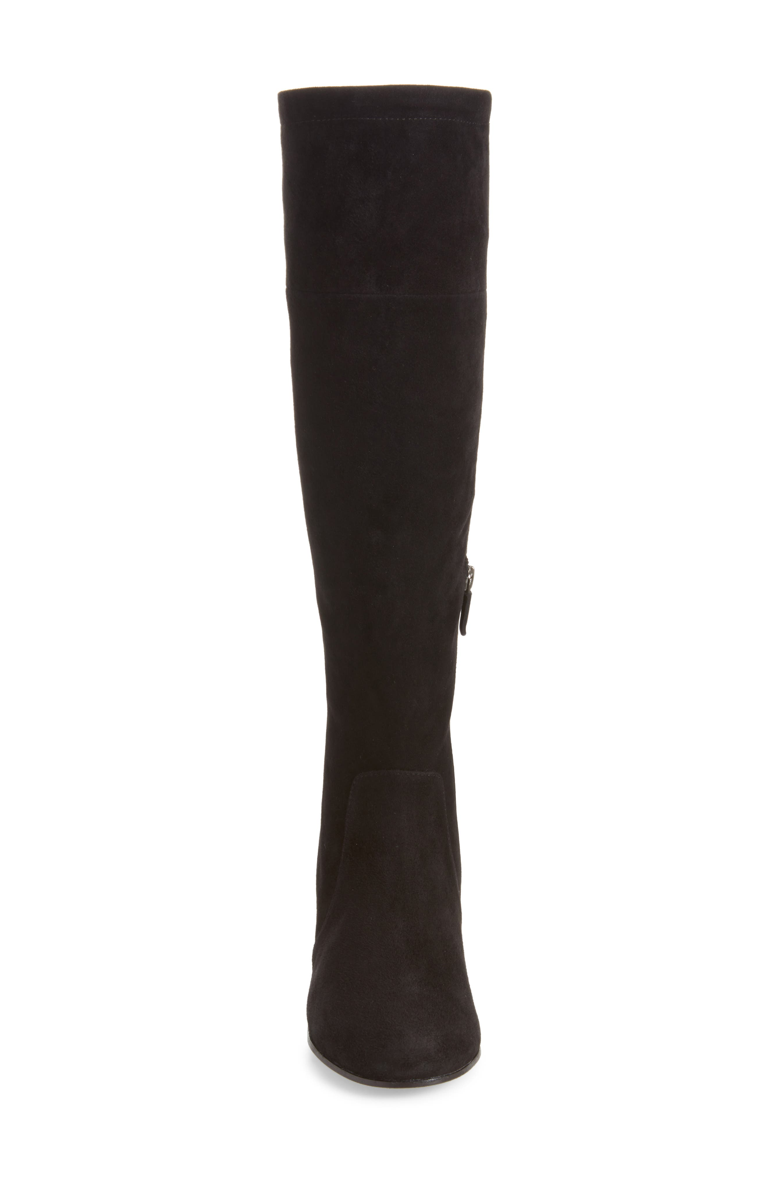 Knee High Boot,                             Alternate thumbnail 4, color,                             Black Suede