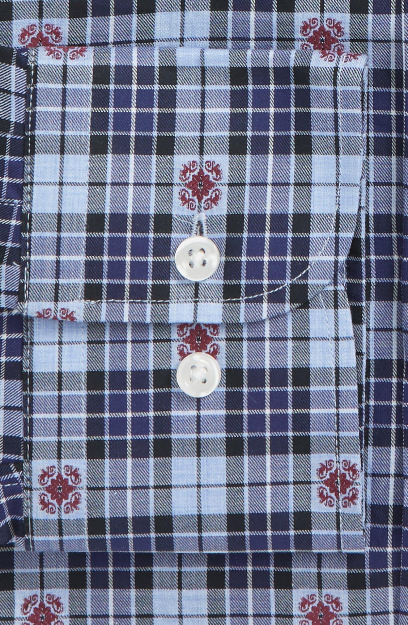 Trim Fit Plaid Dress Shirt,                             Alternate thumbnail 5, color,                             Navy Dress