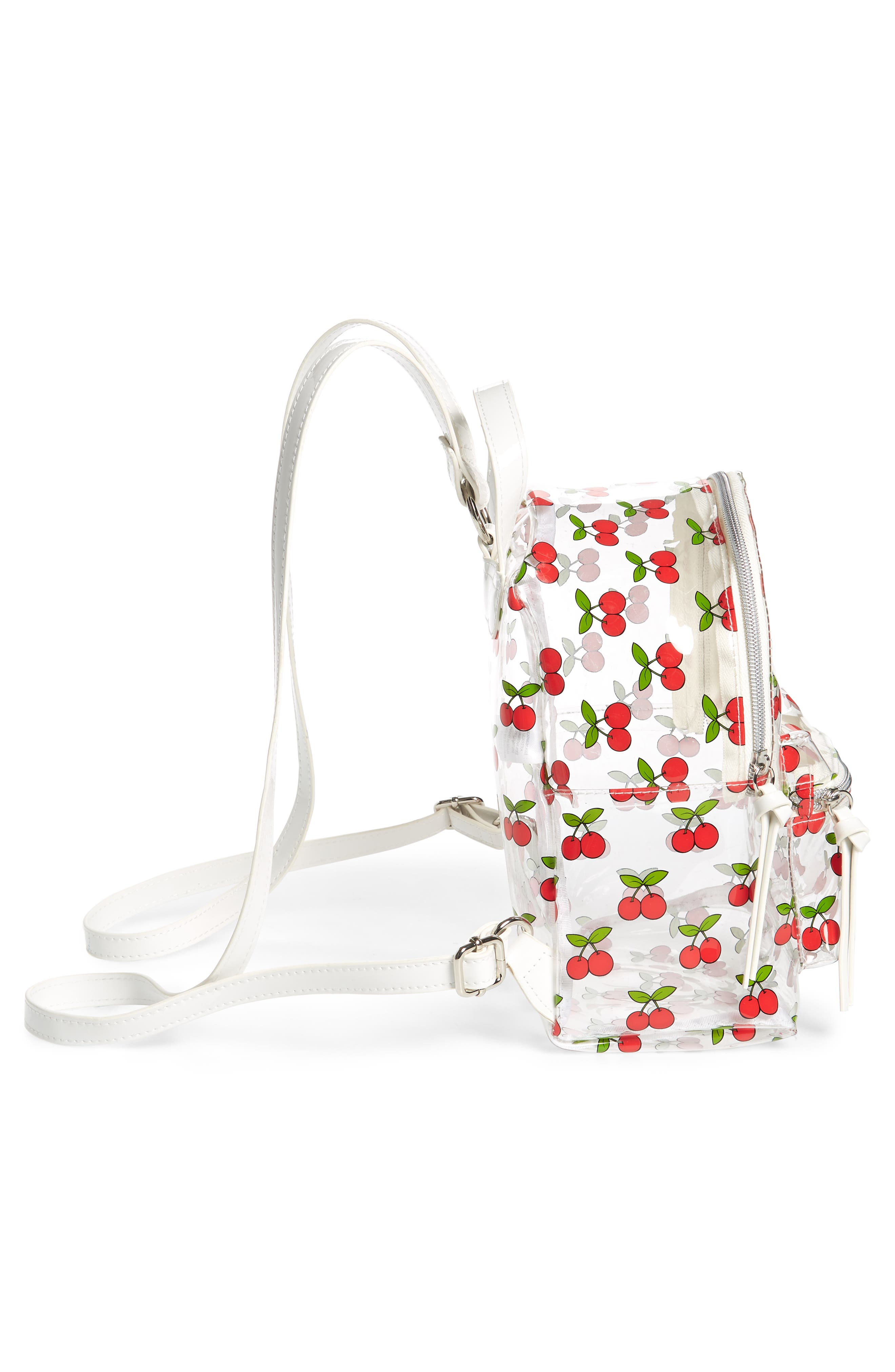 Transparent Cherry Print Mini Convertible Backpack,                             Alternate thumbnail 5, color,                             Clear/ Red