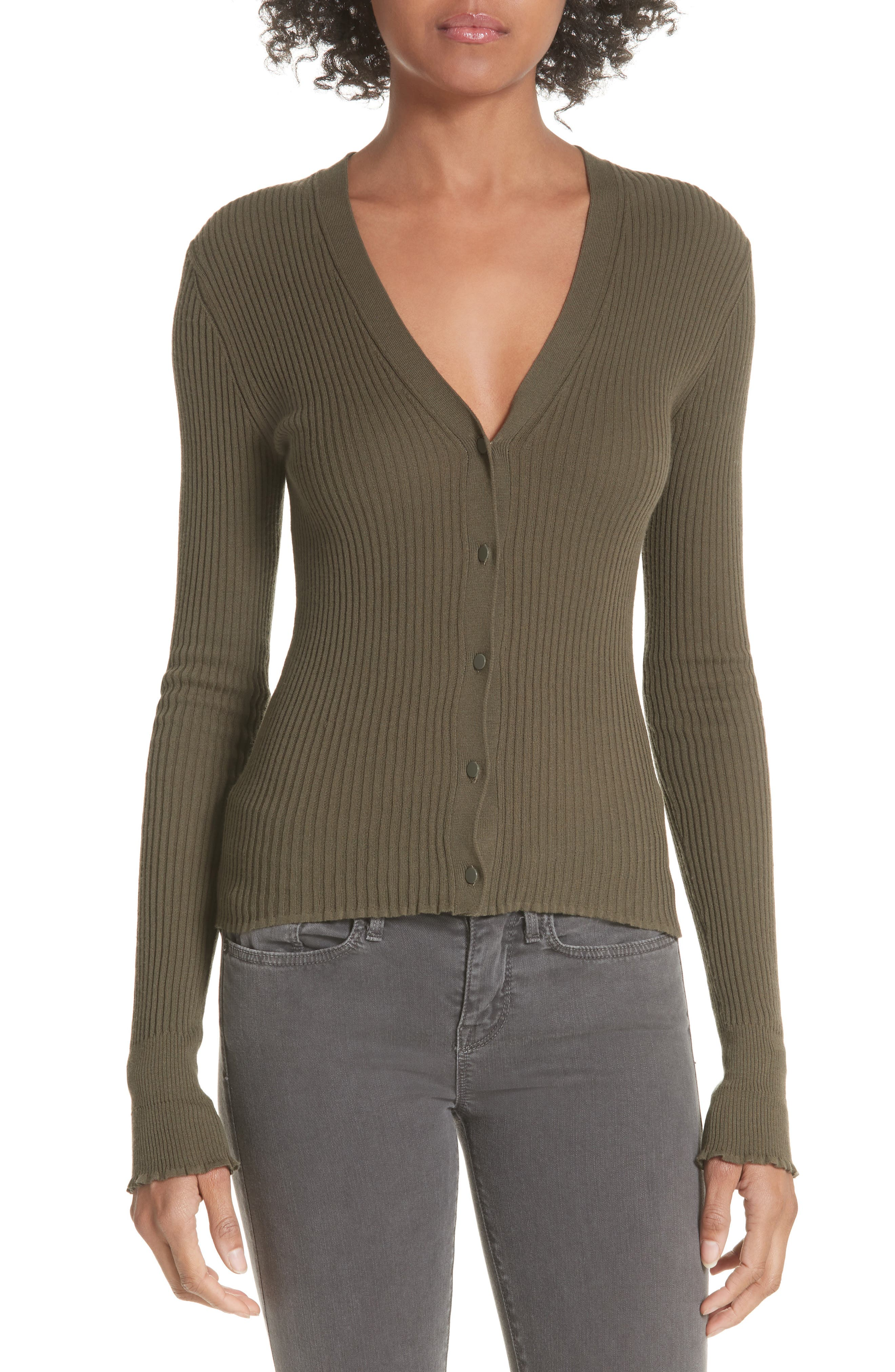 Ribbed Lettuce Cuff Cotton Cardigan,                         Main,                         color, Bayleaf