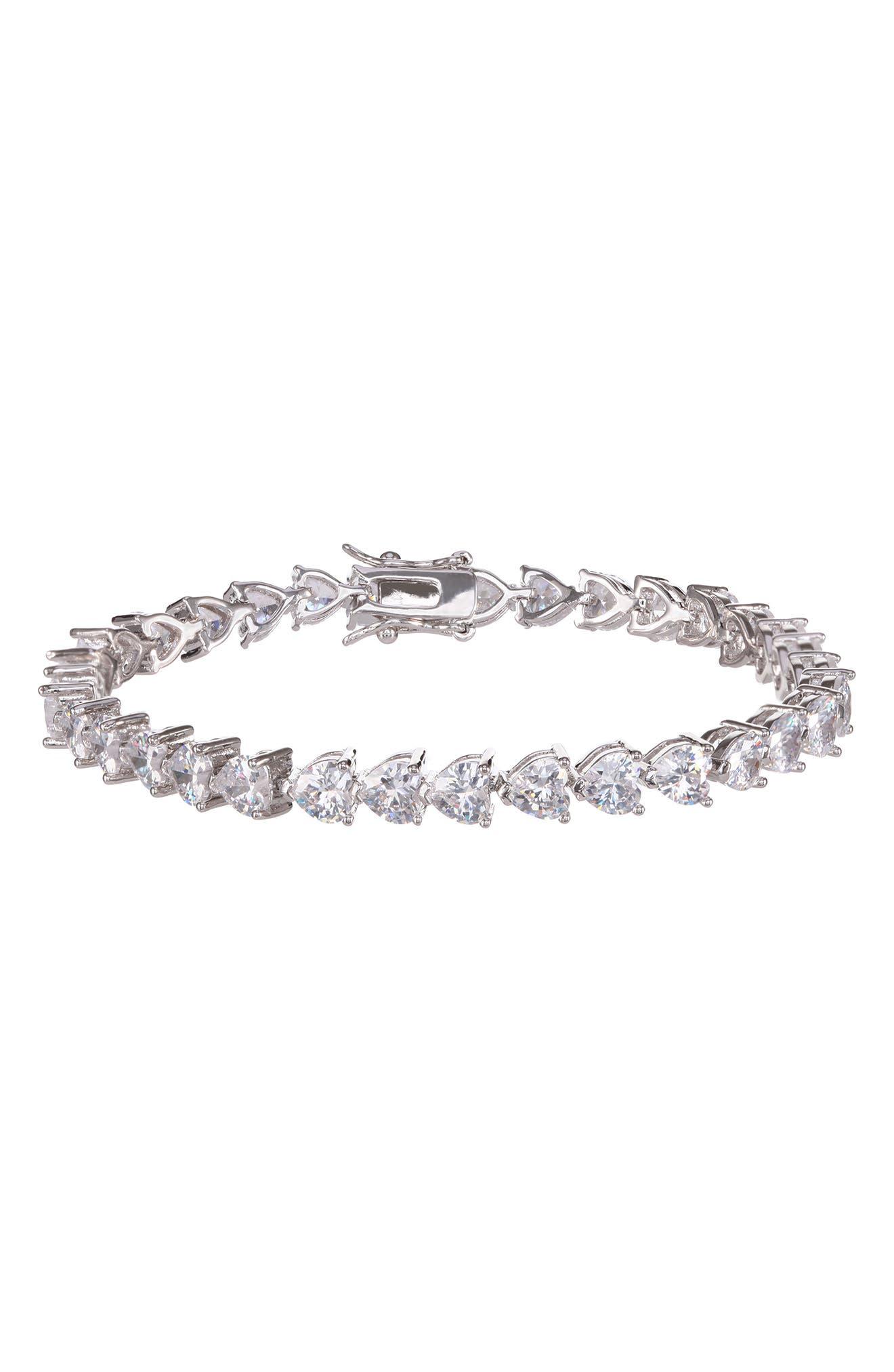 Nina Heart Shaped Cubic Zirconia Link Bracelet
