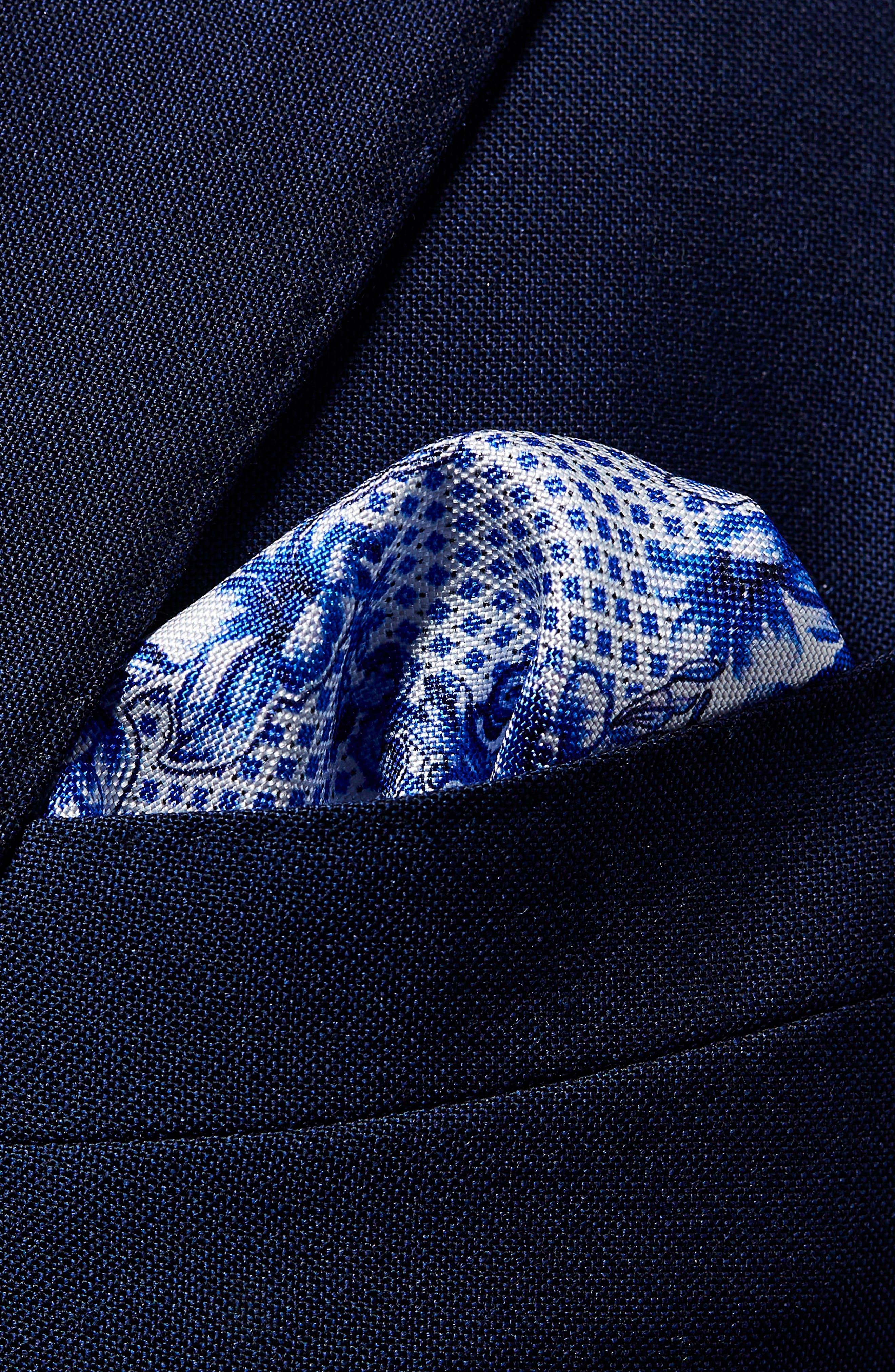Floral Tile Silk Pocket Square,                             Alternate thumbnail 2, color,                             Blue
