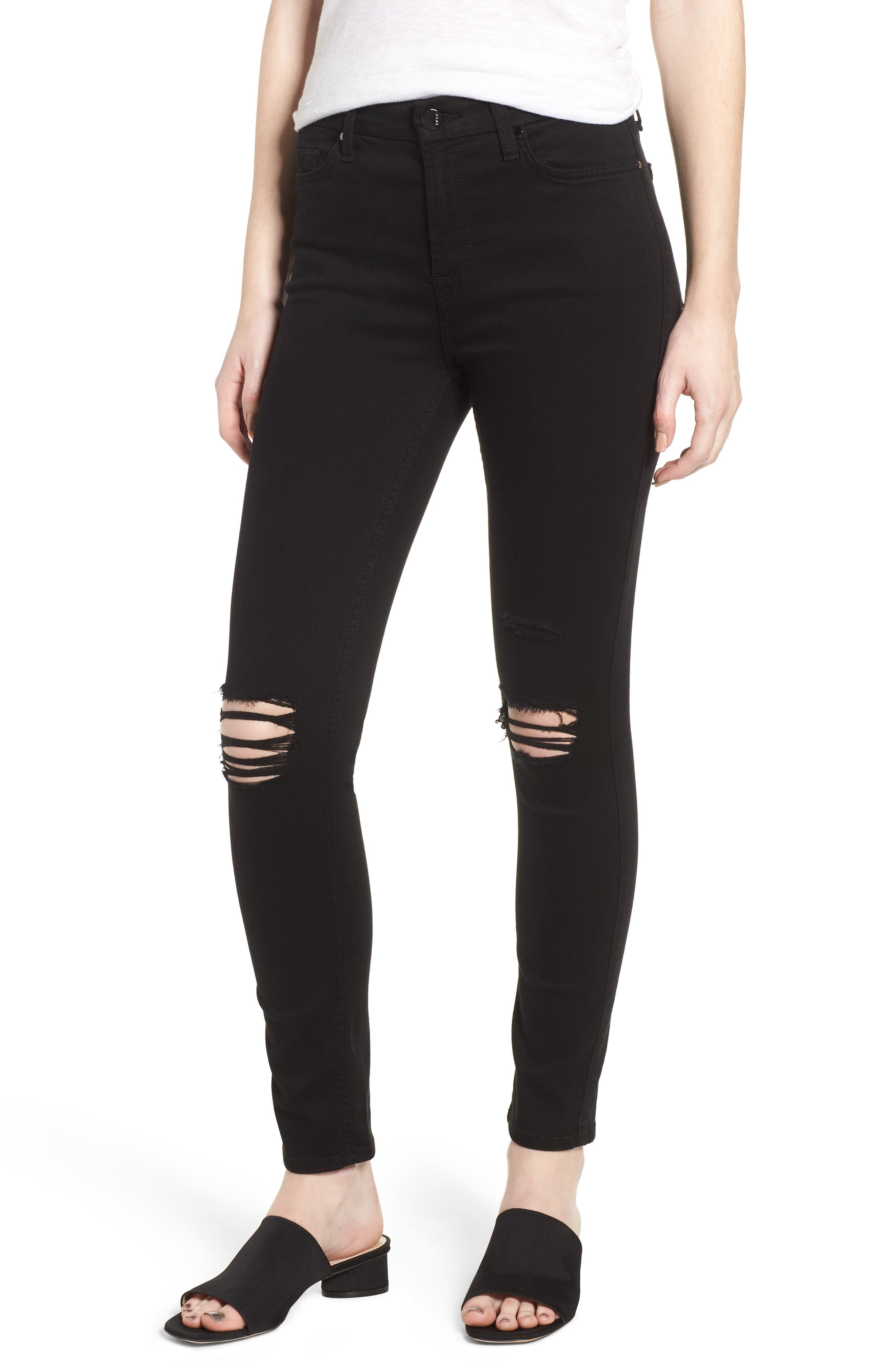 Ripped Ankle Skinny Jeans,                             Main thumbnail 1, color,                             Riche Touch Black Noir2