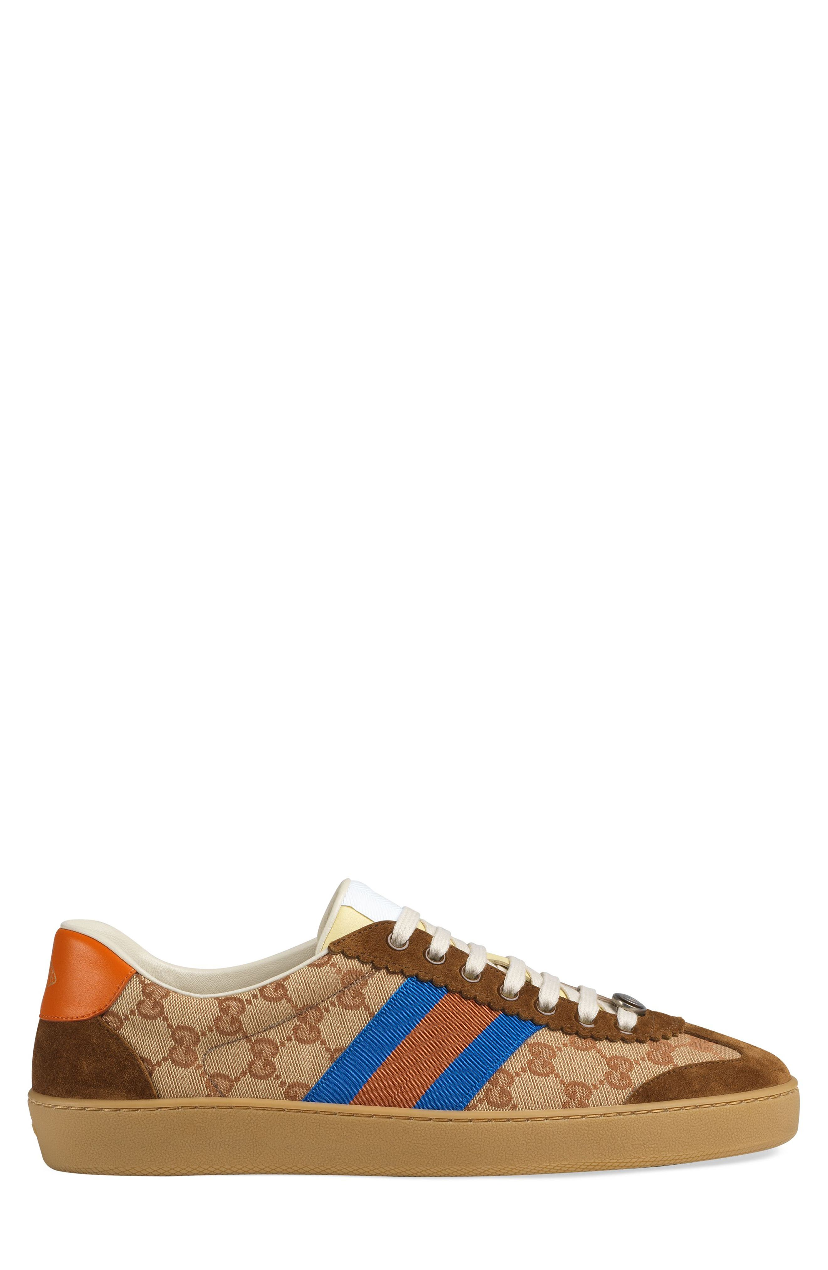 Gucci Web-Striped Canvas & Suede Sneakers - Brown Size 10.5 M