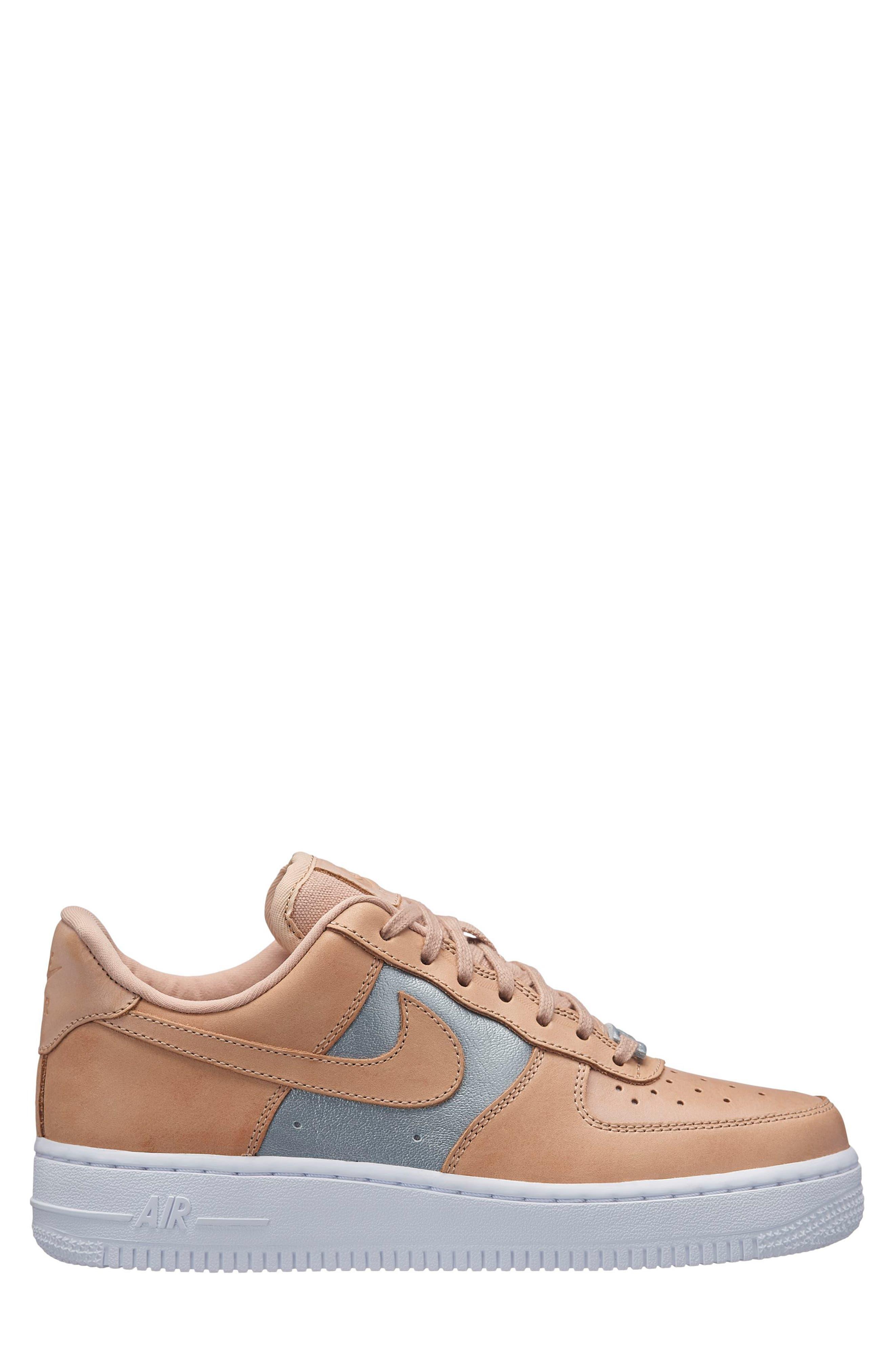 Air Force 1 '07 SE Premium Sneaker,                             Alternate thumbnail 3, color,                             Beige/ Silver/ White