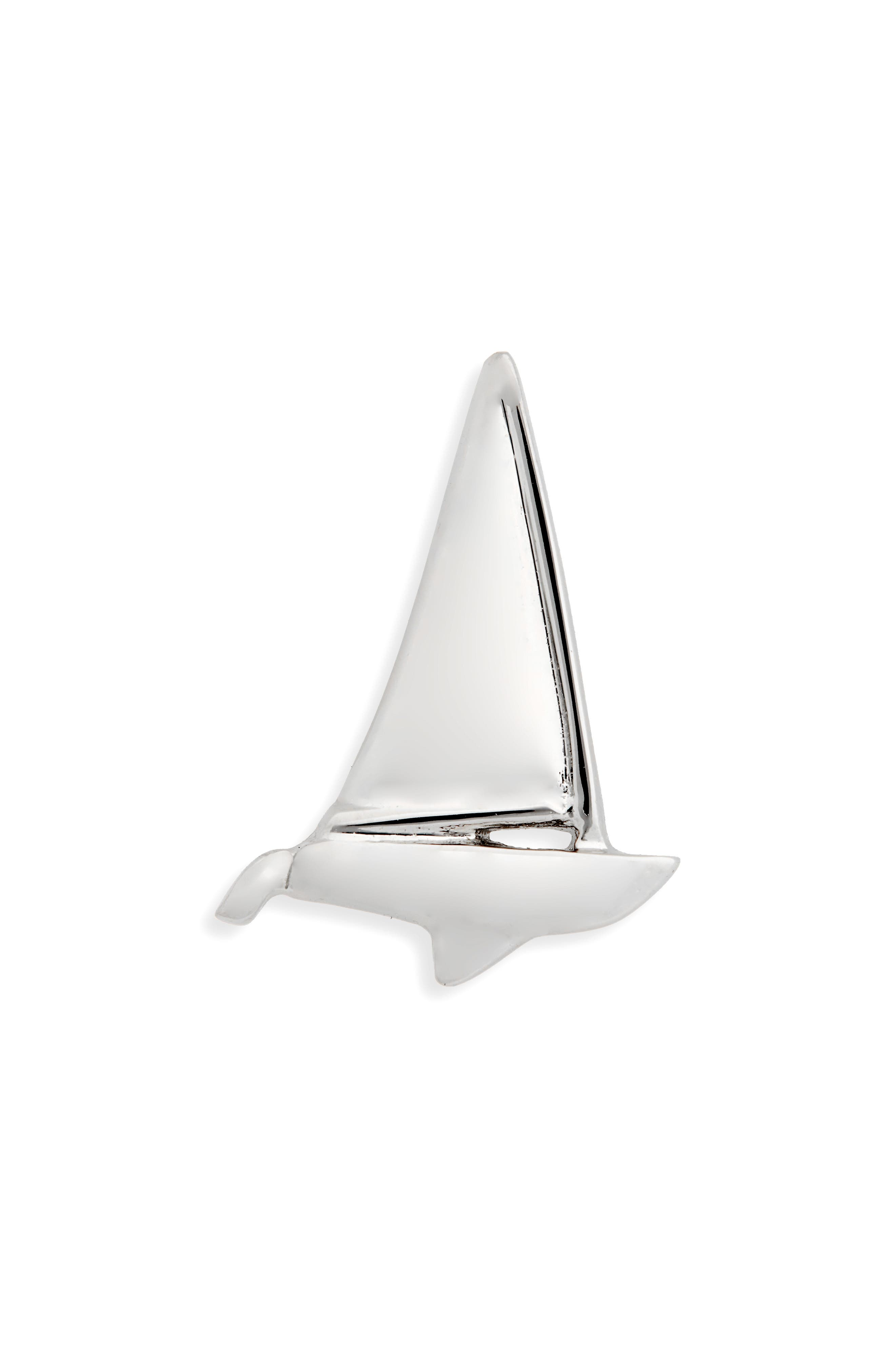 Sailboat Lapel Pin,                             Main thumbnail 1, color,                             Silver