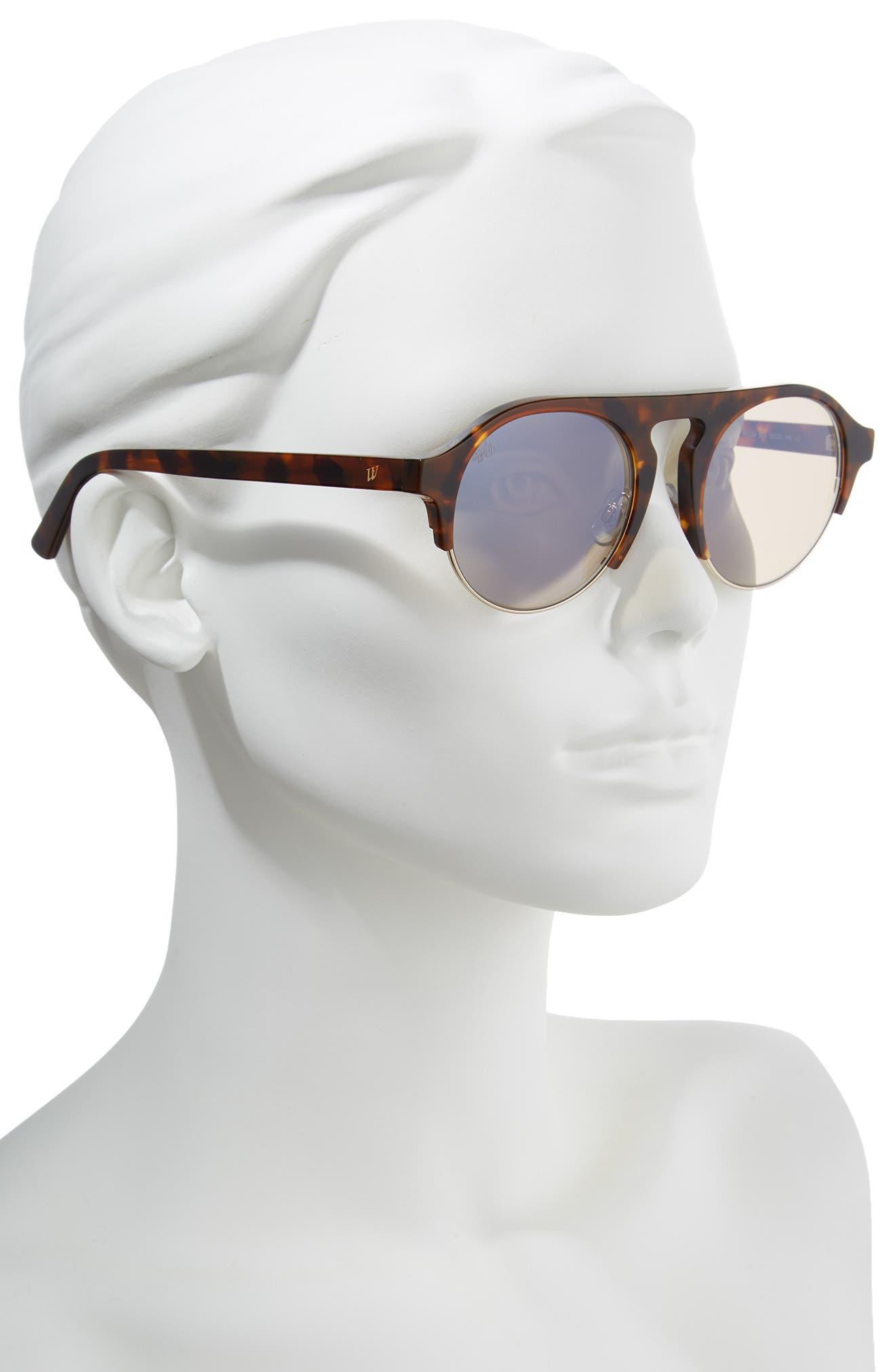 52mm Sunglasses,                             Alternate thumbnail 2, color,                             Dark Havana/ Brown Mirror