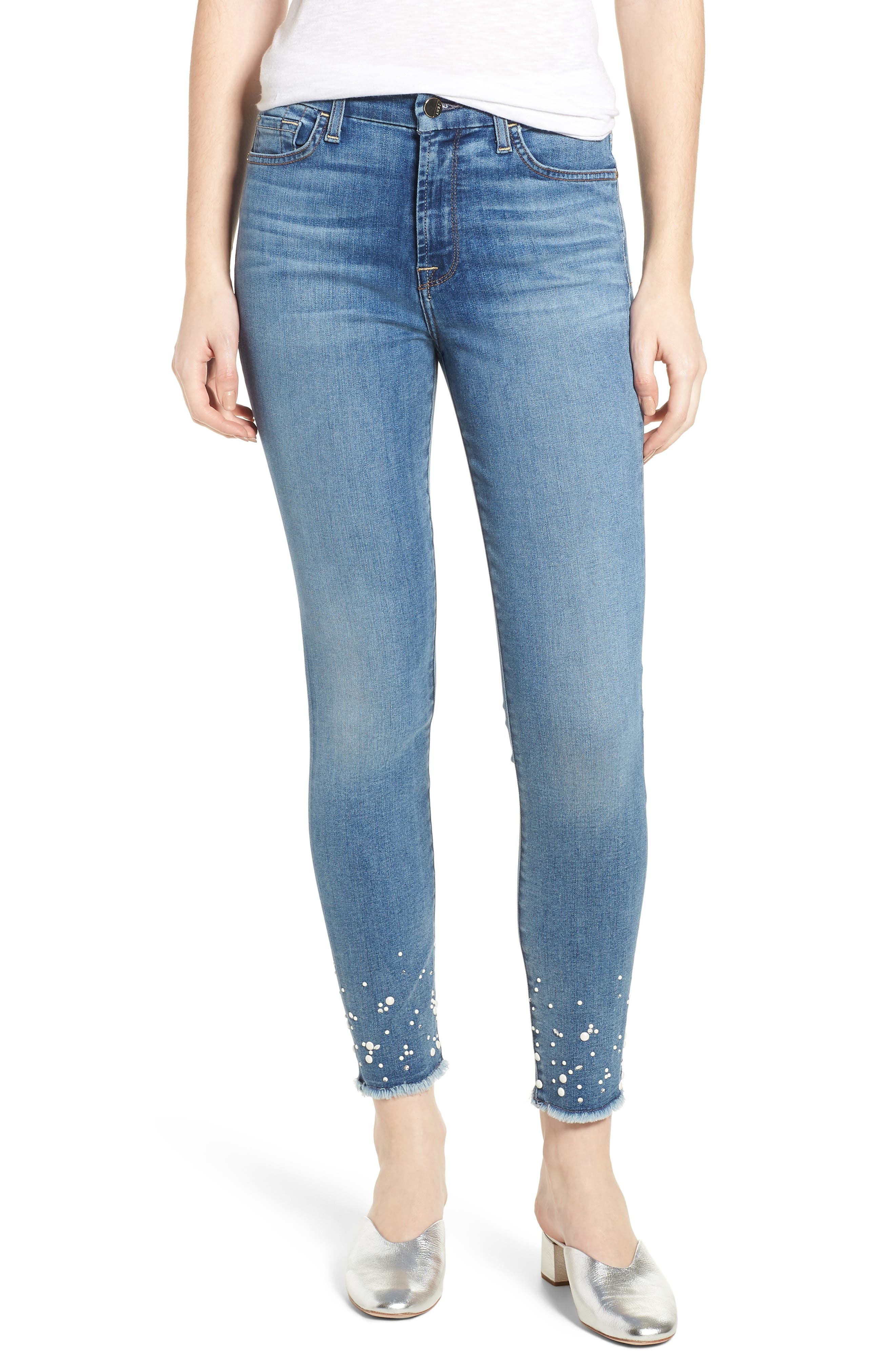 Embellished Hem Ankle Skinny Jeans,                             Main thumbnail 1, color,                             Sunlight