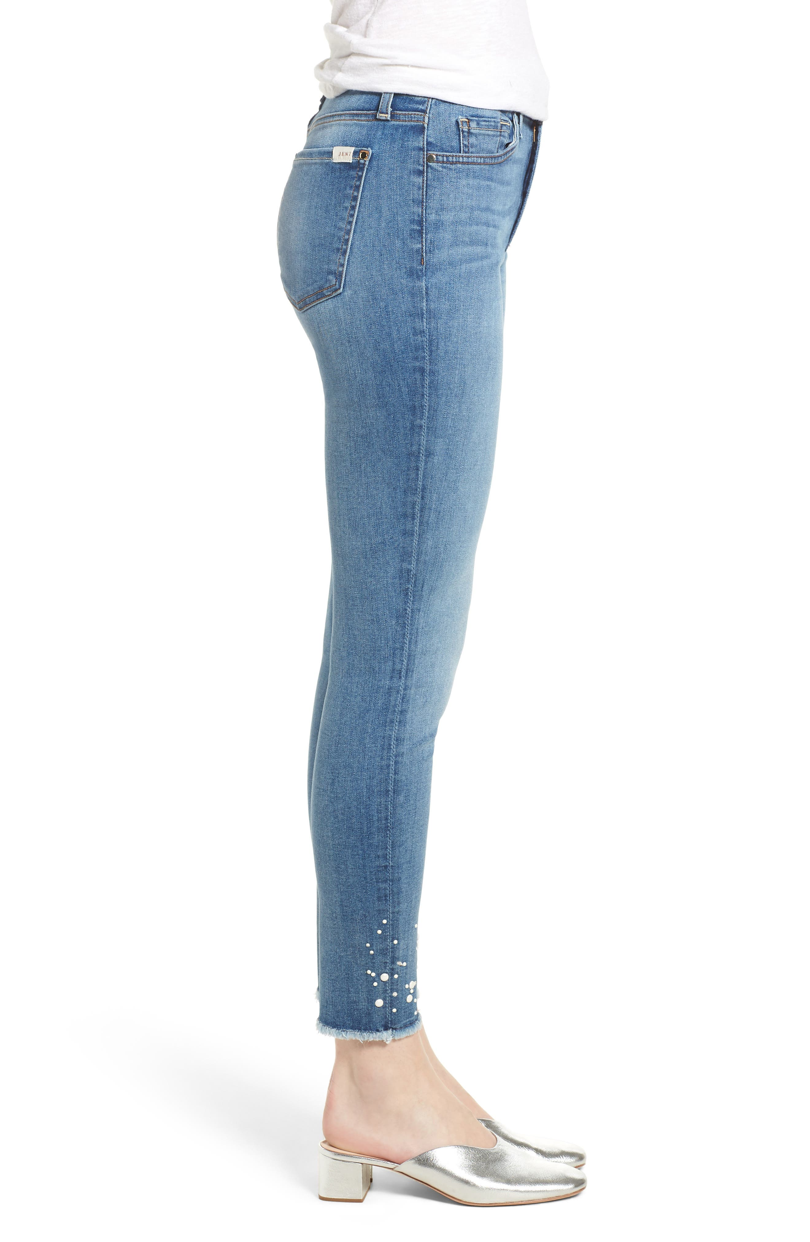 Embellished Hem Ankle Skinny Jeans,                             Alternate thumbnail 3, color,                             Sunlight