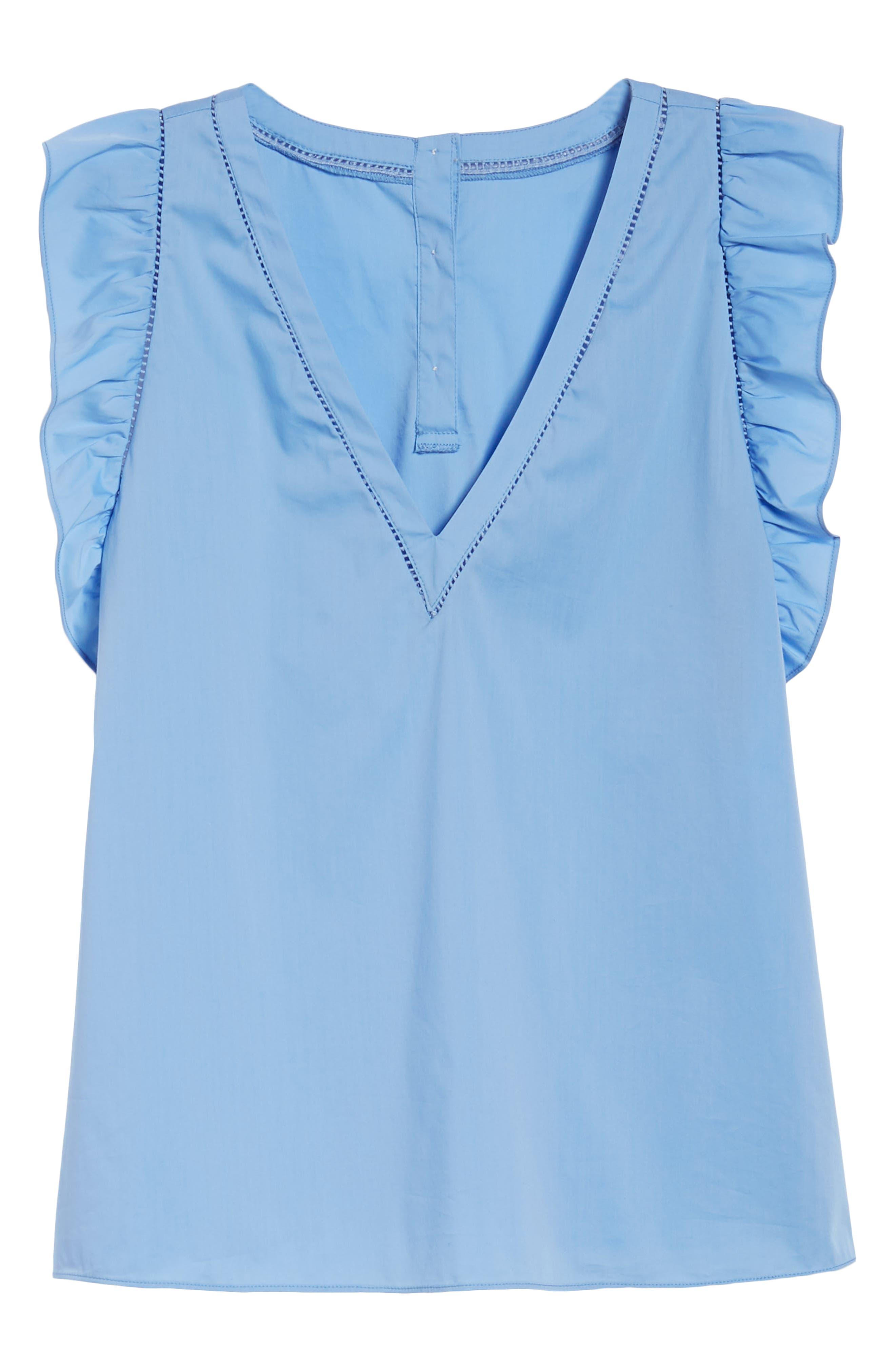 Ruffle Cotton Poplin Blend Top,                             Alternate thumbnail 6, color,                             Blue Cornflower