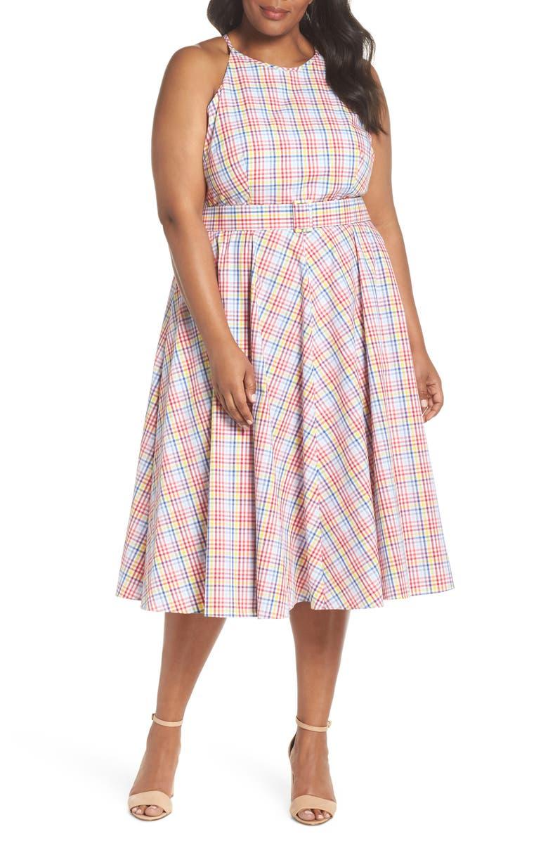 Check Halter Midi Fit  Flare Dress