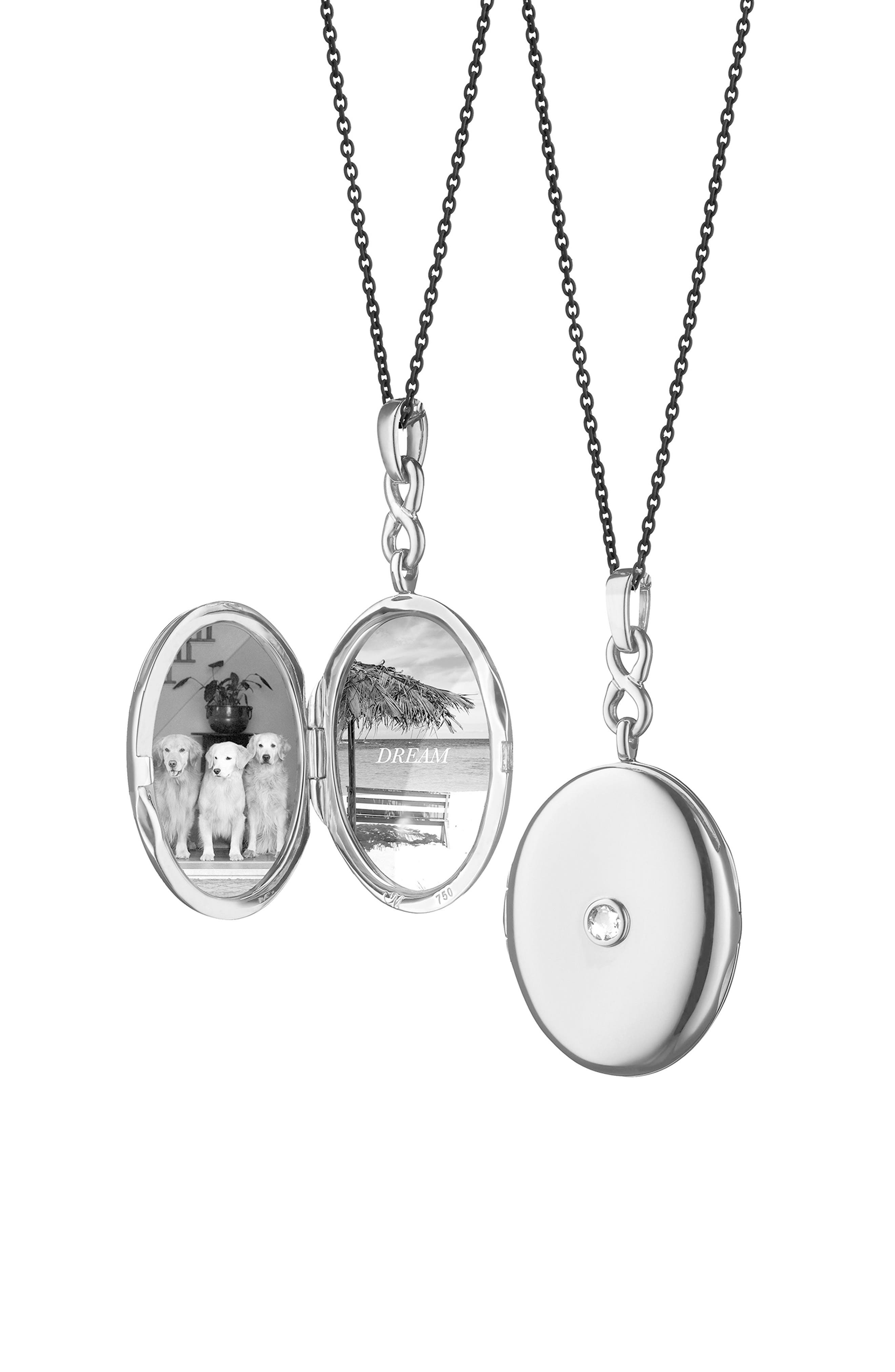 White Sapphire Locket Necklace,                         Main,                         color, Sterling Silver