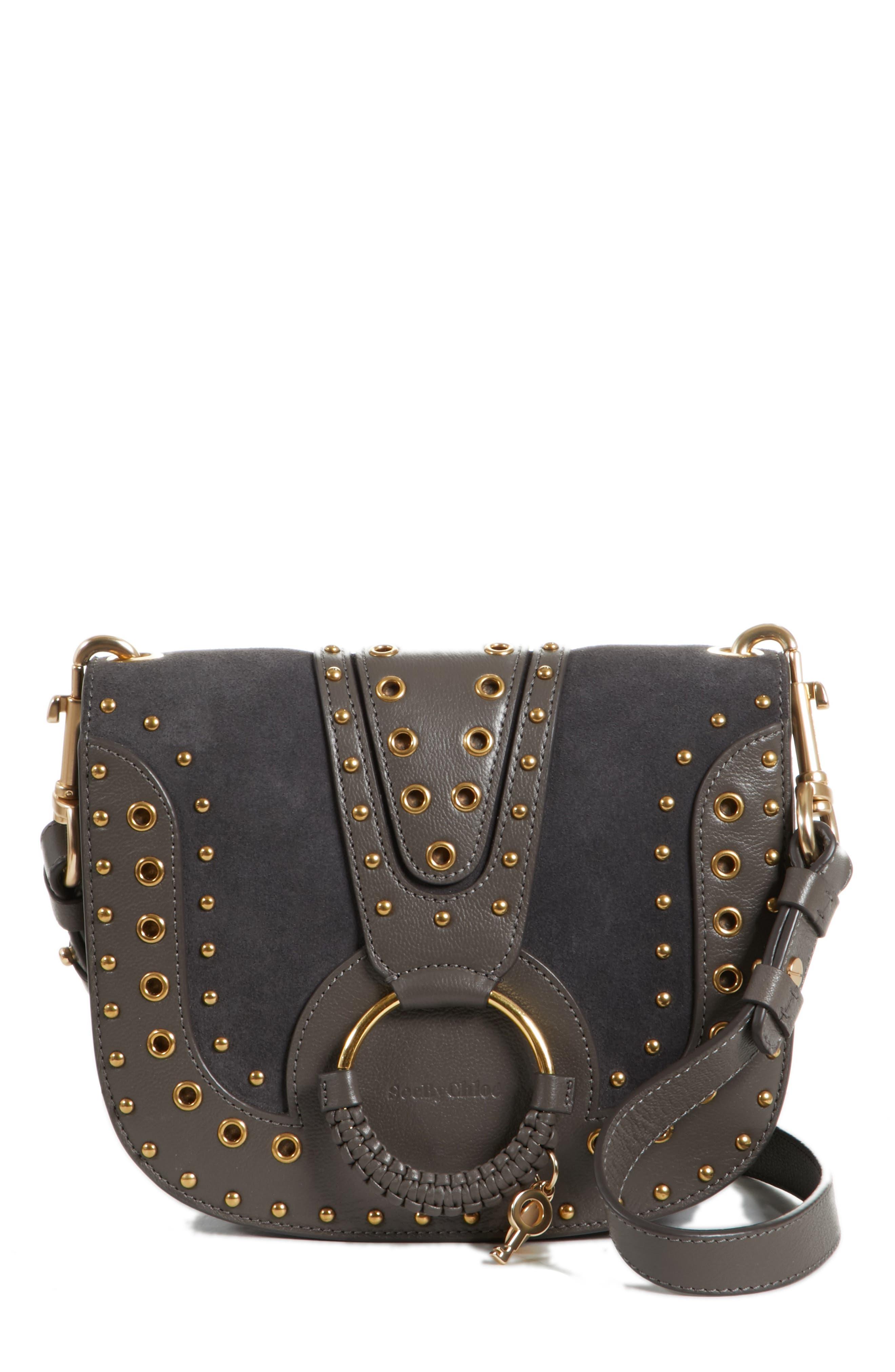 Small Hana Studded Leather Crossbody Bag,                             Main thumbnail 1, color,                             Lava Brown