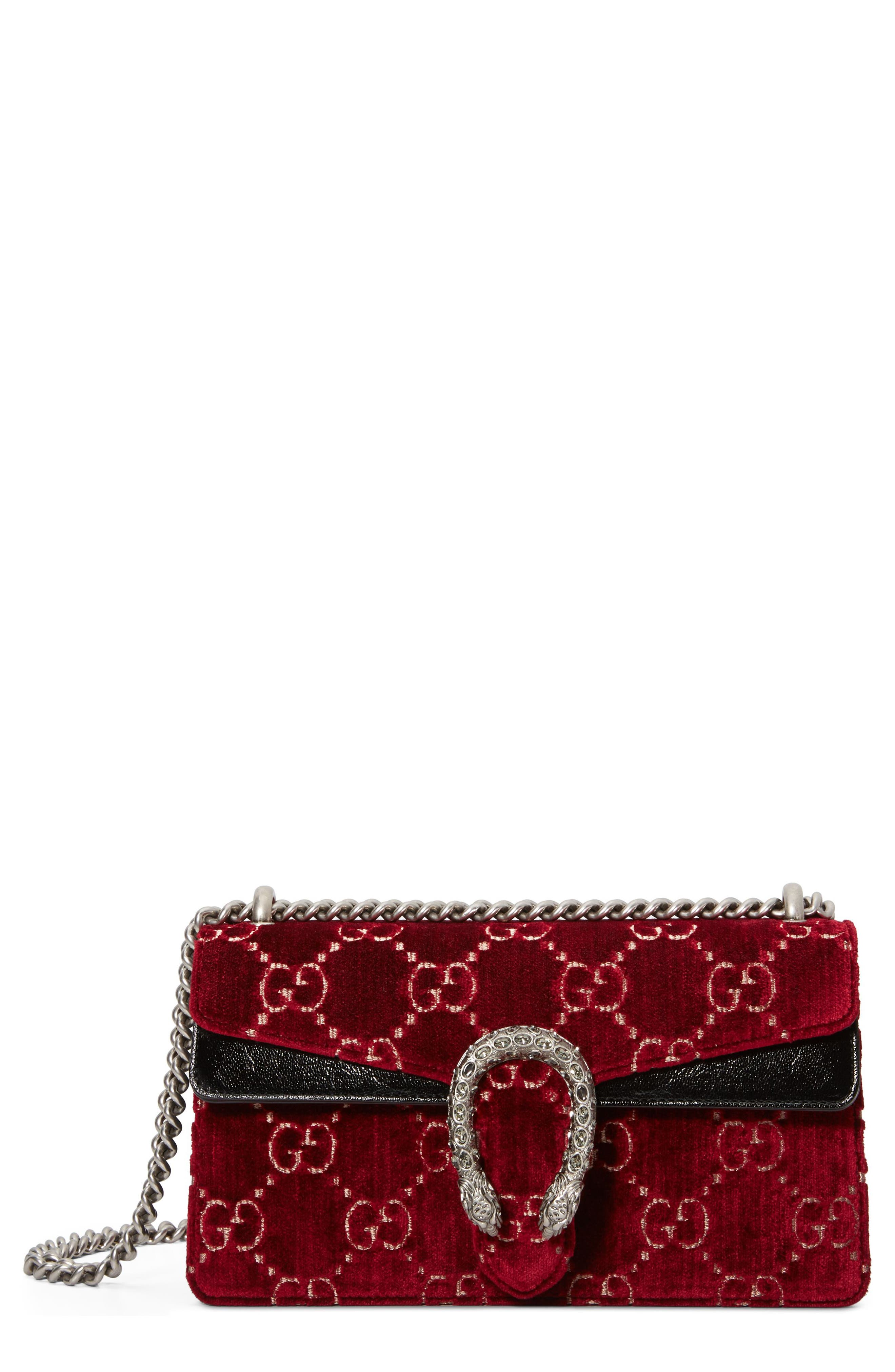 Small Dionysus GG Velvet Shoulder Bag,                         Main,                         color, Red Cipria/ Black Diamond