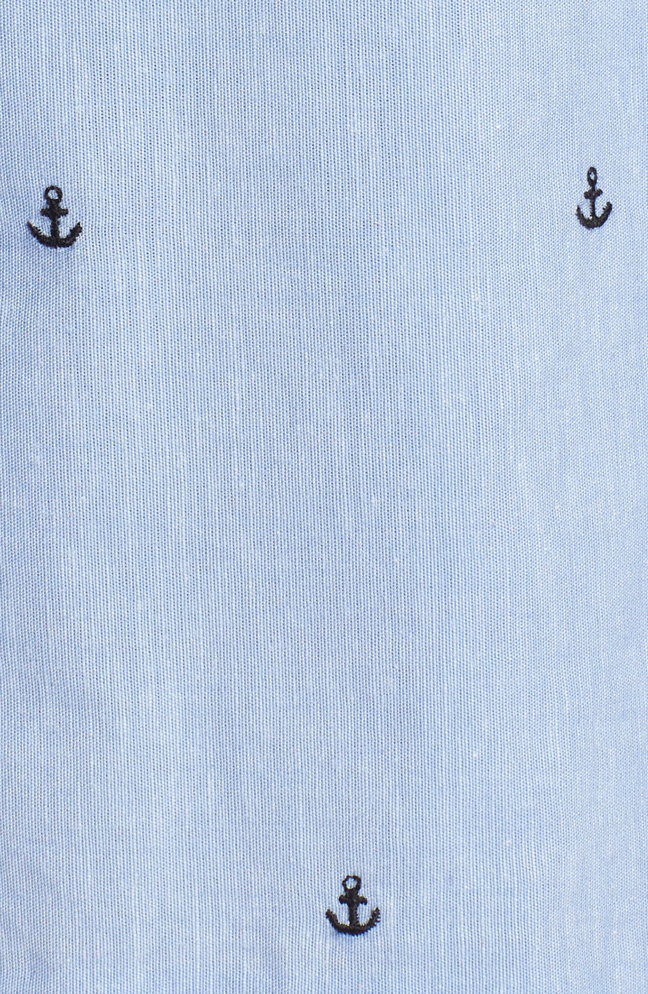 Anchor Embroidery Pleated Cotton Shorts,                             Alternate thumbnail 6, color,                             Chambray Anchor Print