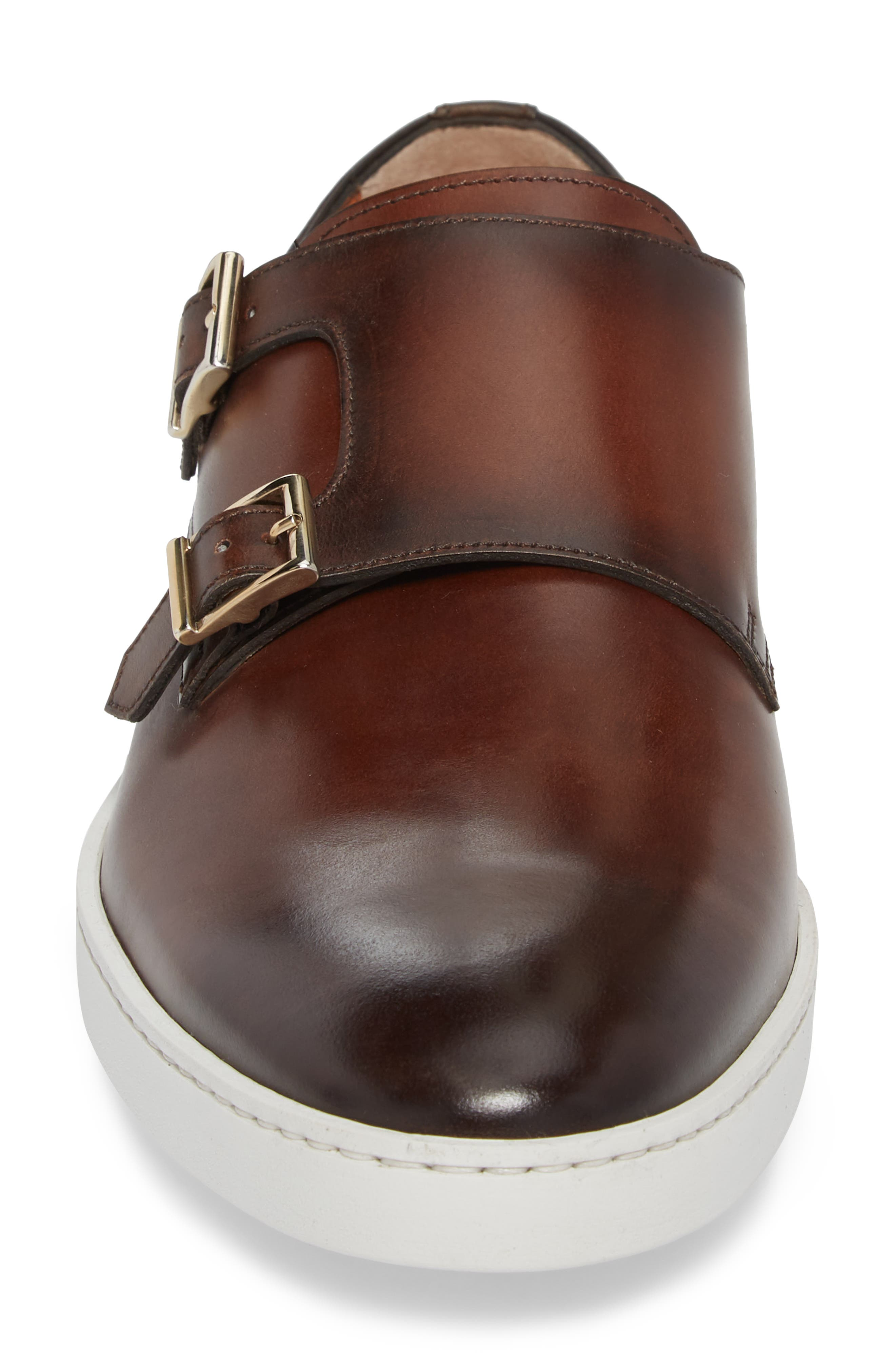 Freemont Double Monk Strap Shoe,                             Alternate thumbnail 4, color,                             Brown