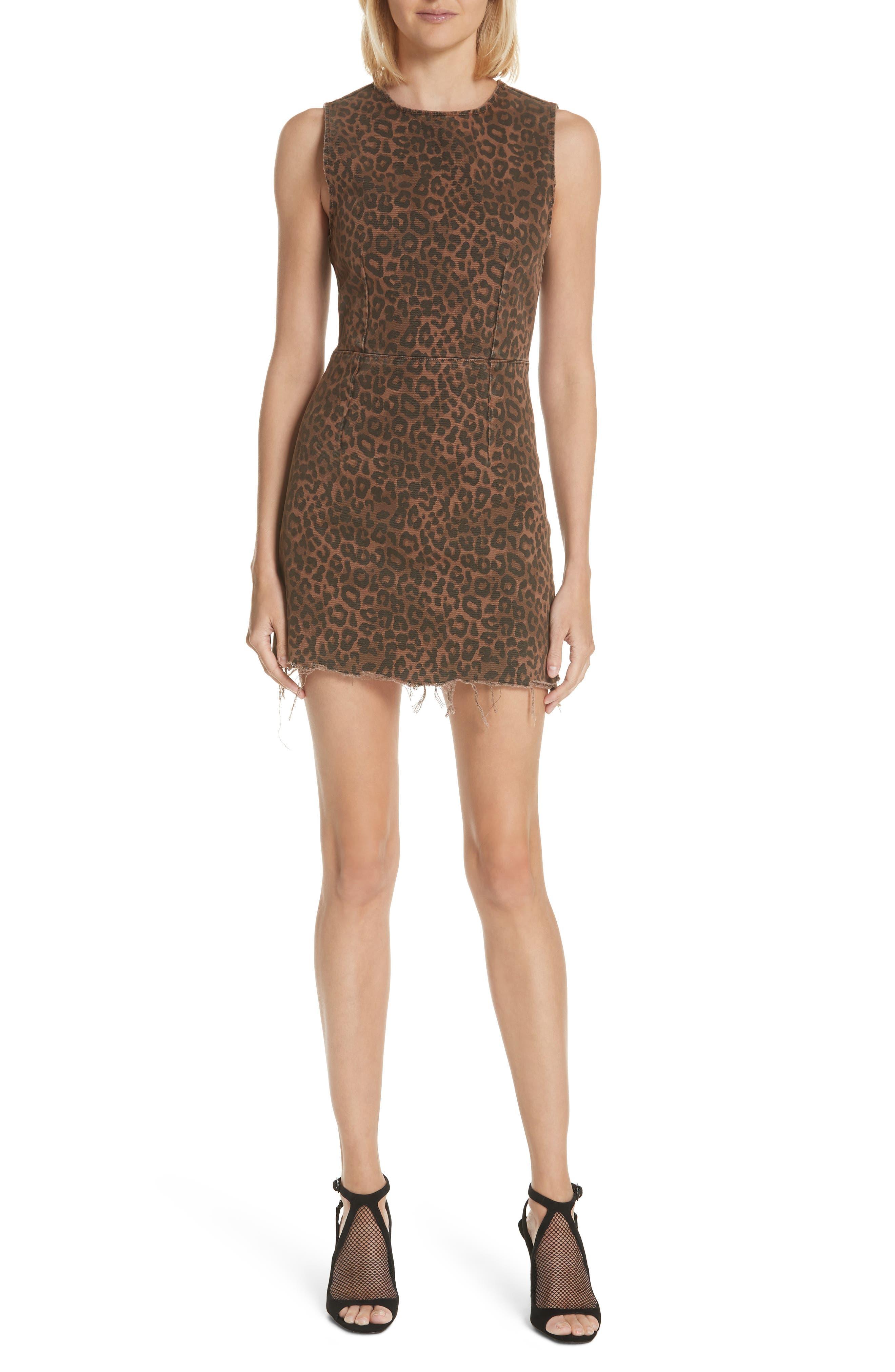 T by Alexander Wang Leopard Print Denim Dress