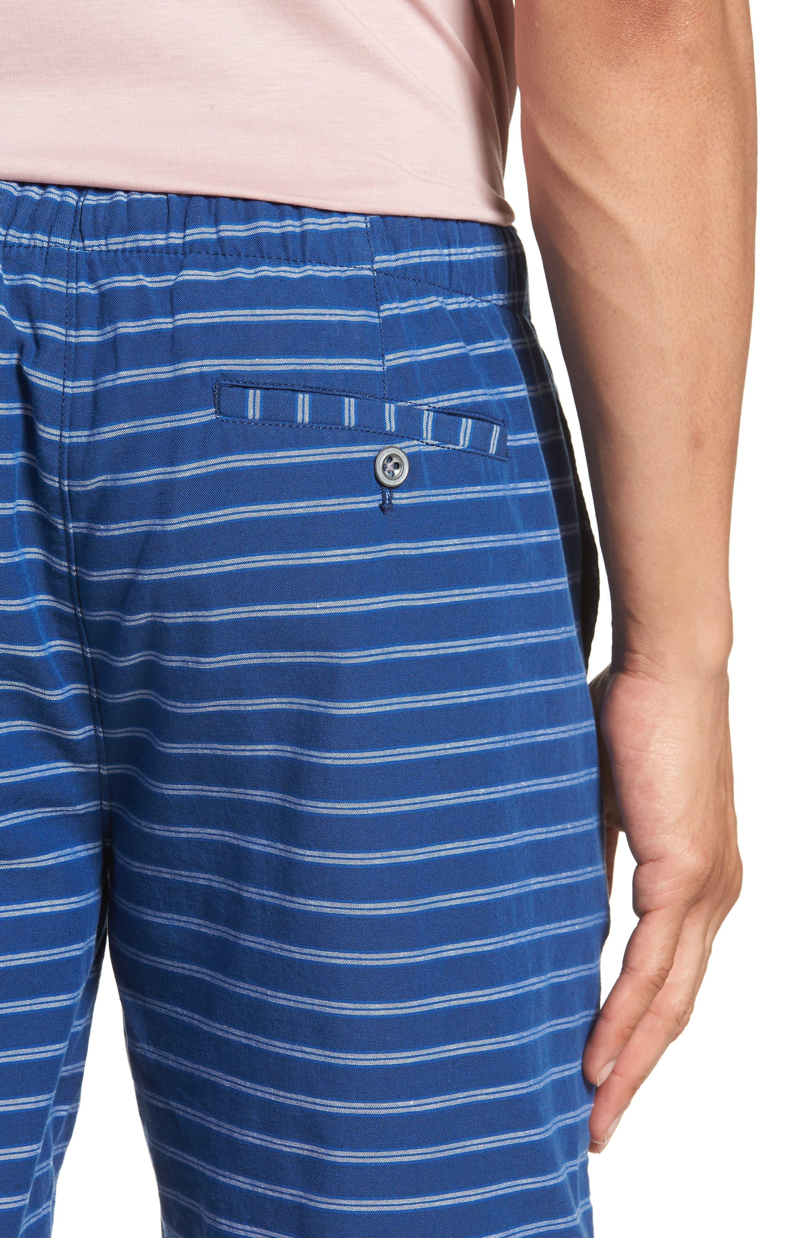 Slim Fit Stripe Beach Shorts,                             Alternate thumbnail 4, color,                             Blue Stripe