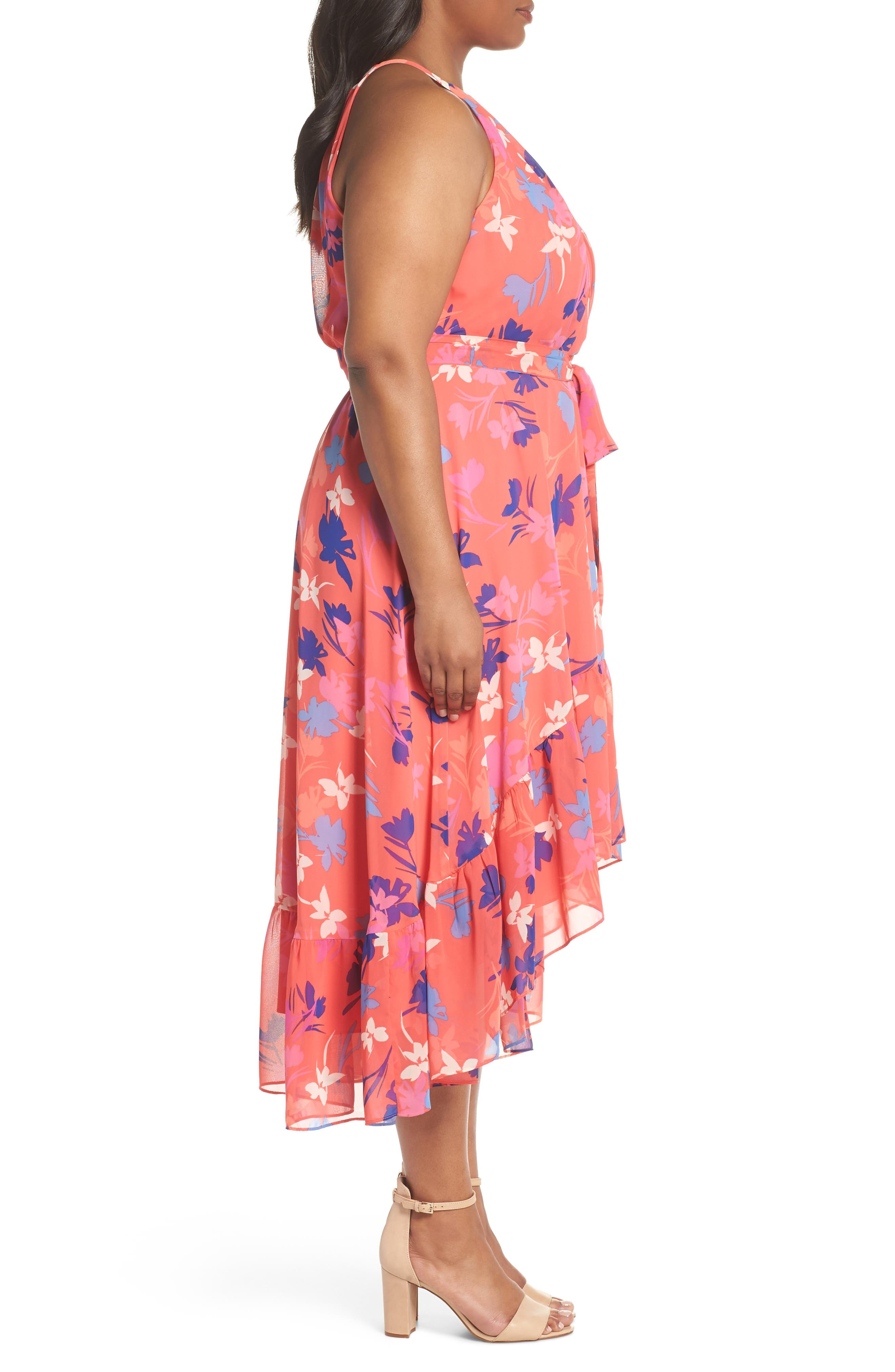 Floral High/Low Halter Dress,                             Alternate thumbnail 3, color,                             Coral/ Fiery Fuchsia/ Navy
