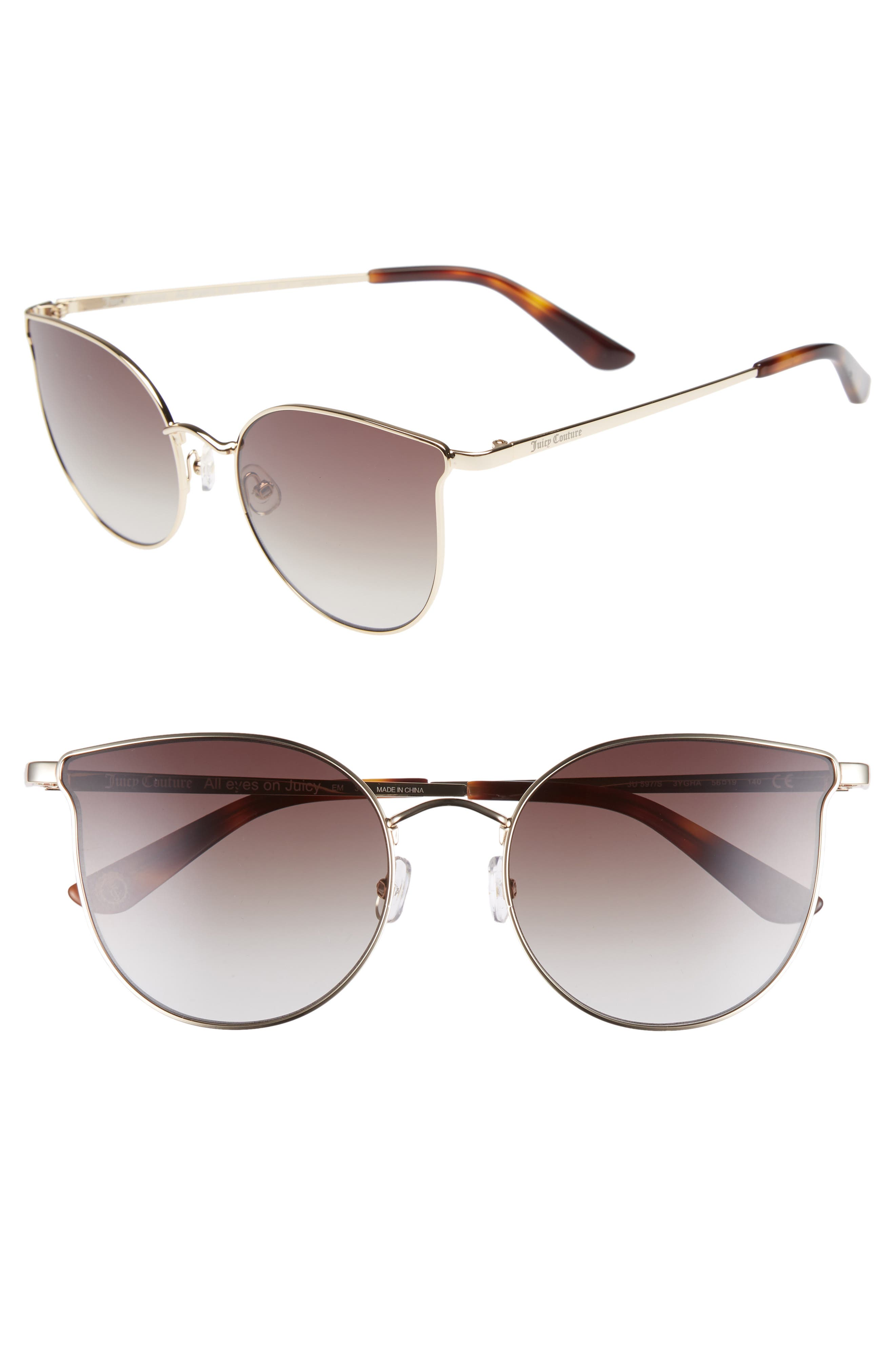 JUICY COUTURE 56MM METAL CAT EYE SUNGLASSES - LIGHT GOLD
