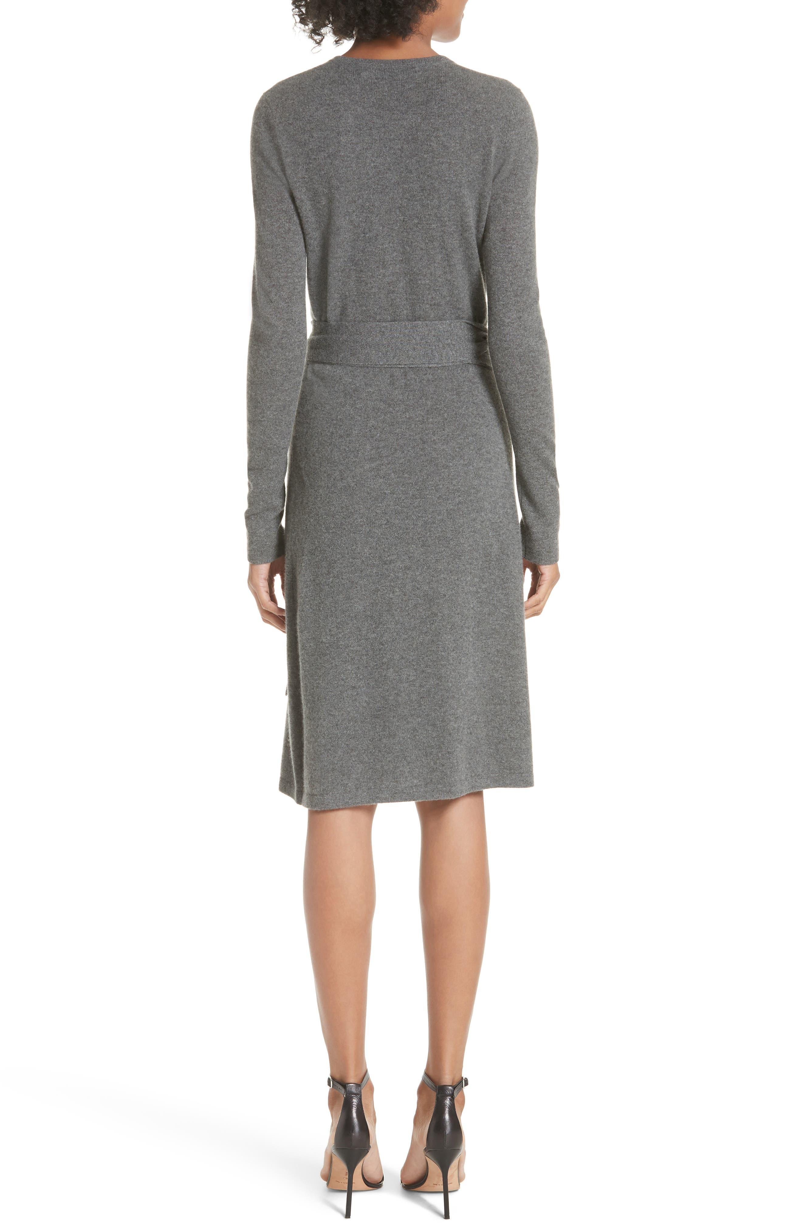 Diane Von Furstenberg Linda Cashmere Wrap Dress,                             Alternate thumbnail 2, color,                             Charcoal Melange