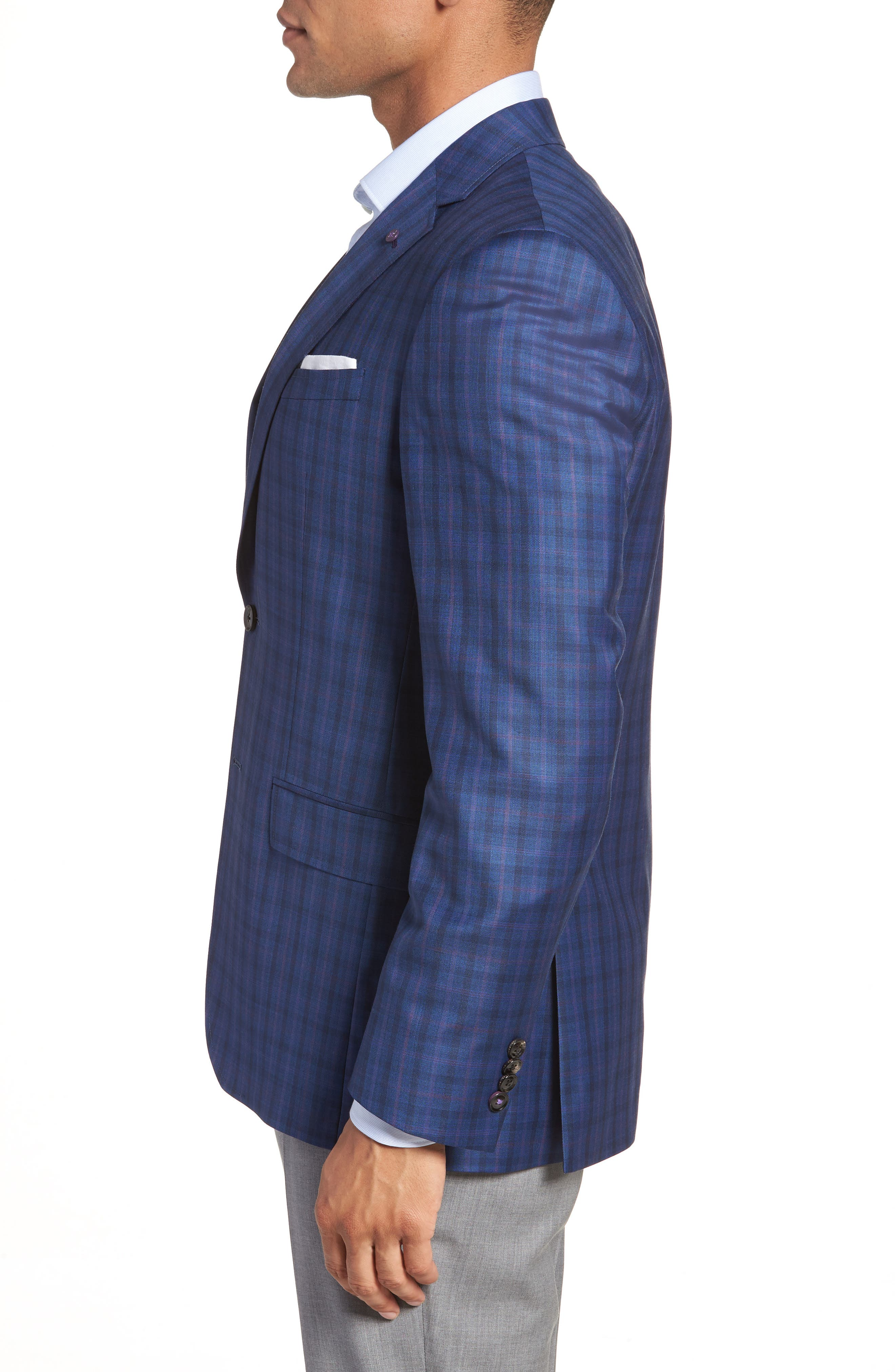 Jay Trim Fit Windowpane Wool Sport Coat,                             Alternate thumbnail 3, color,                             Blue