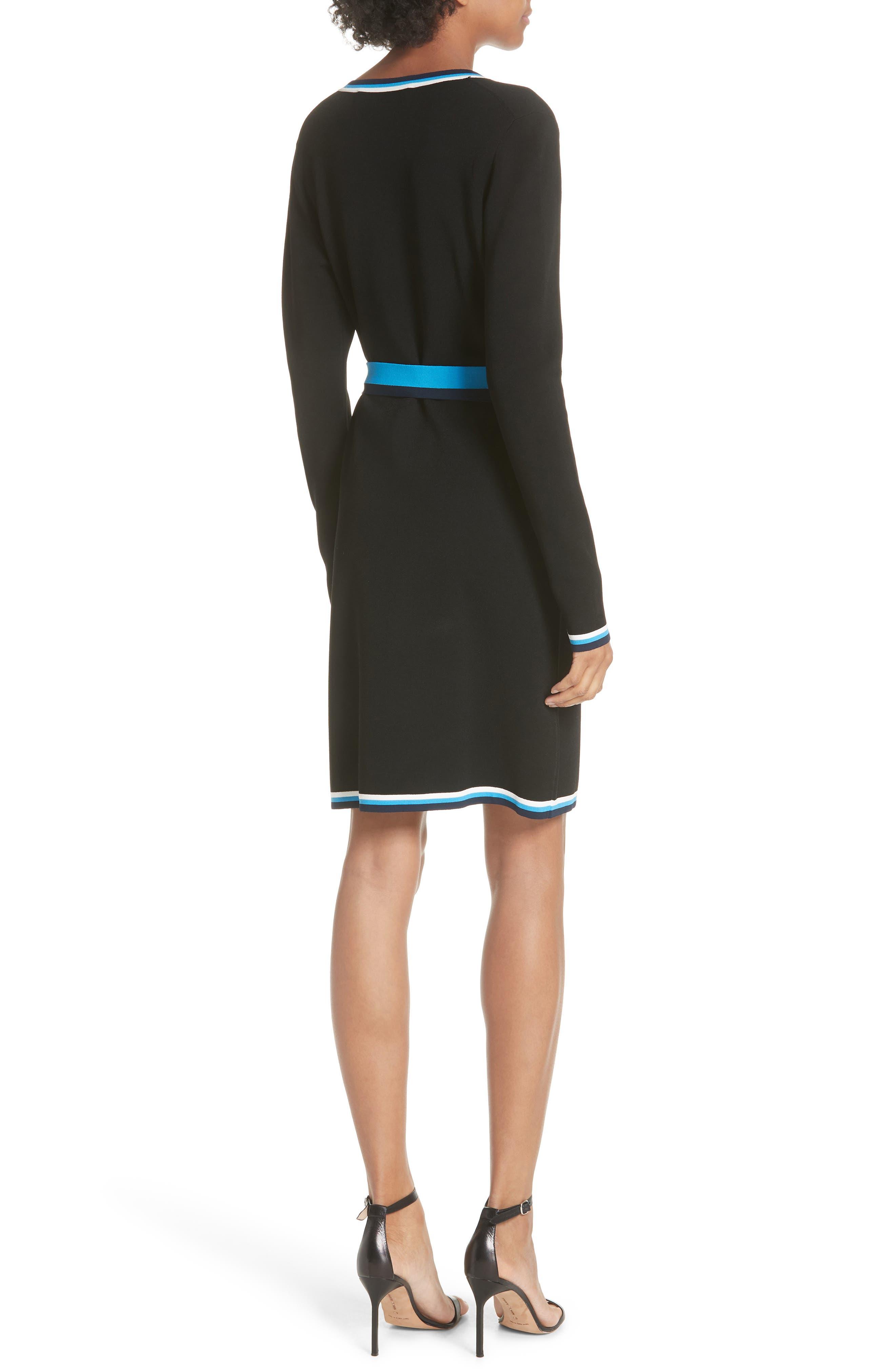 Diane von Furstenberg Wrap Sweater Dress,                             Alternate thumbnail 2, color,                             Laguna Multi