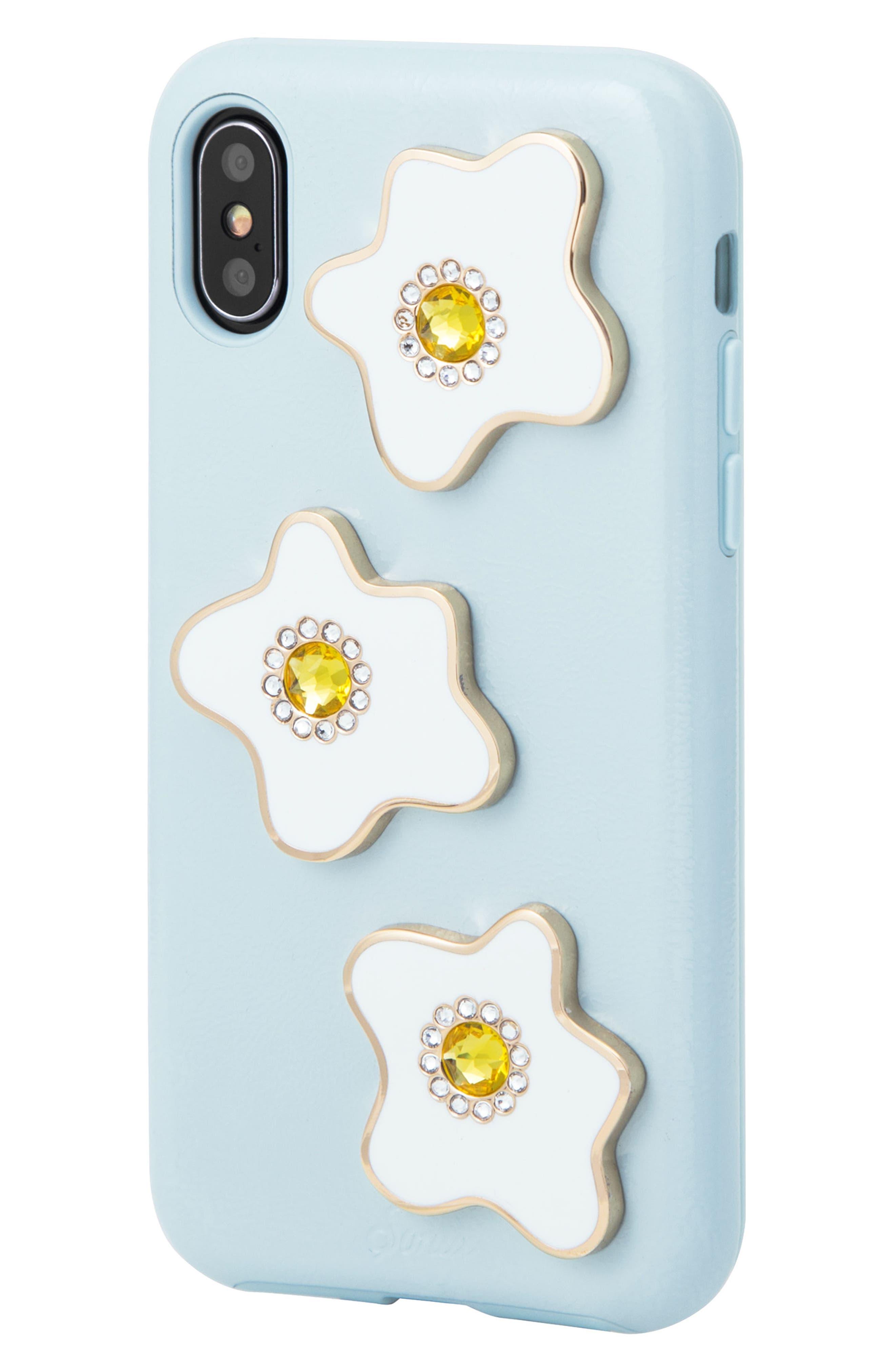 Eggy iPhone X Case,                             Alternate thumbnail 2, color,                             Blue/ White/ Yellow