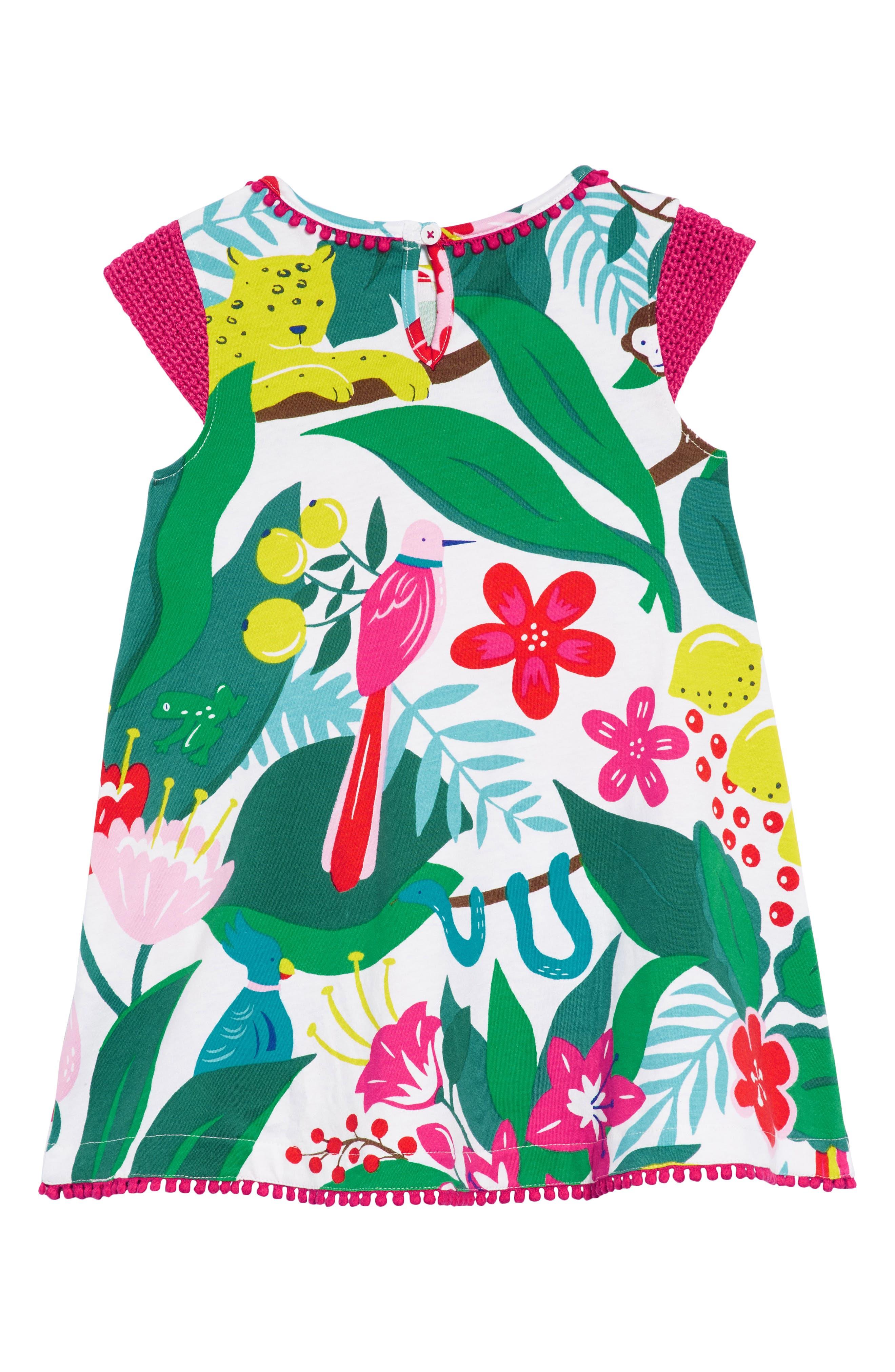 Crochet Sleeve Sundress,                             Alternate thumbnail 3, color,                             Ecru Jungle Jumble