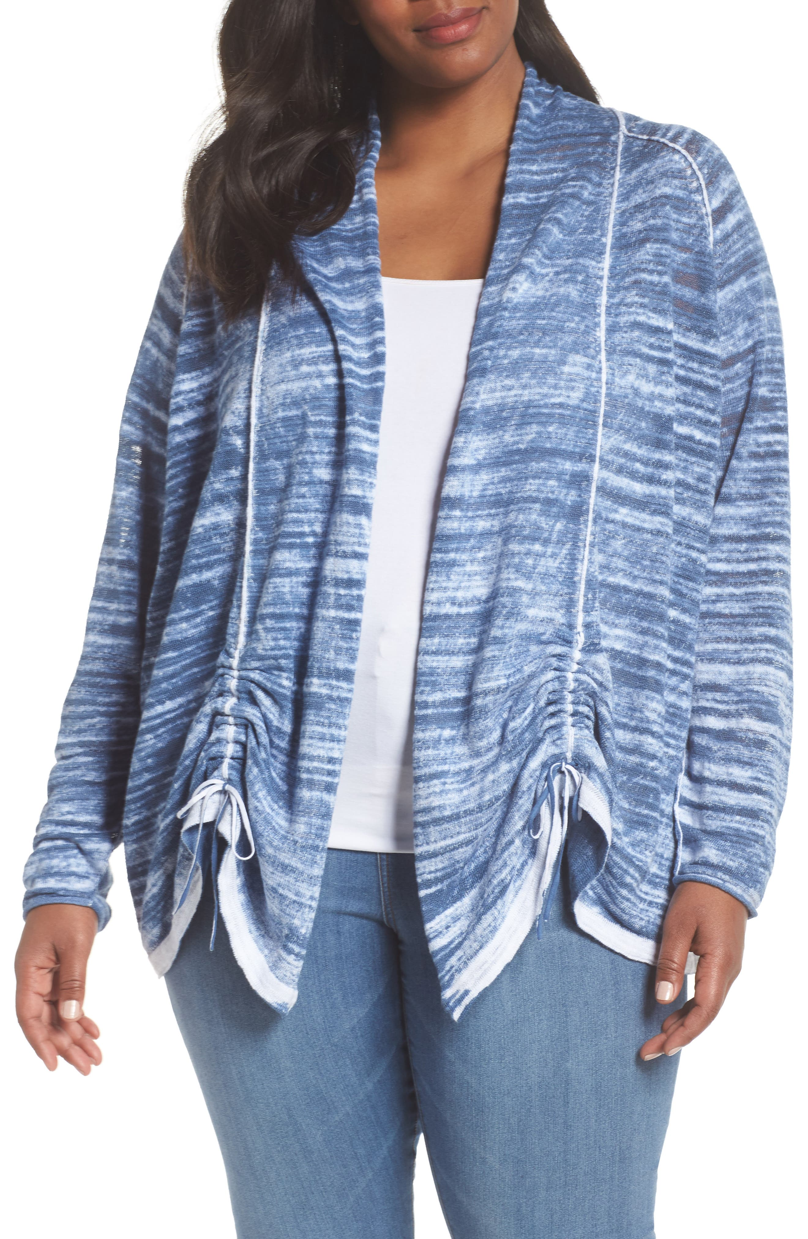 Sand Dune Ruched Sleeve Cardigan,                             Main thumbnail 1, color,                             Mosaic Blue