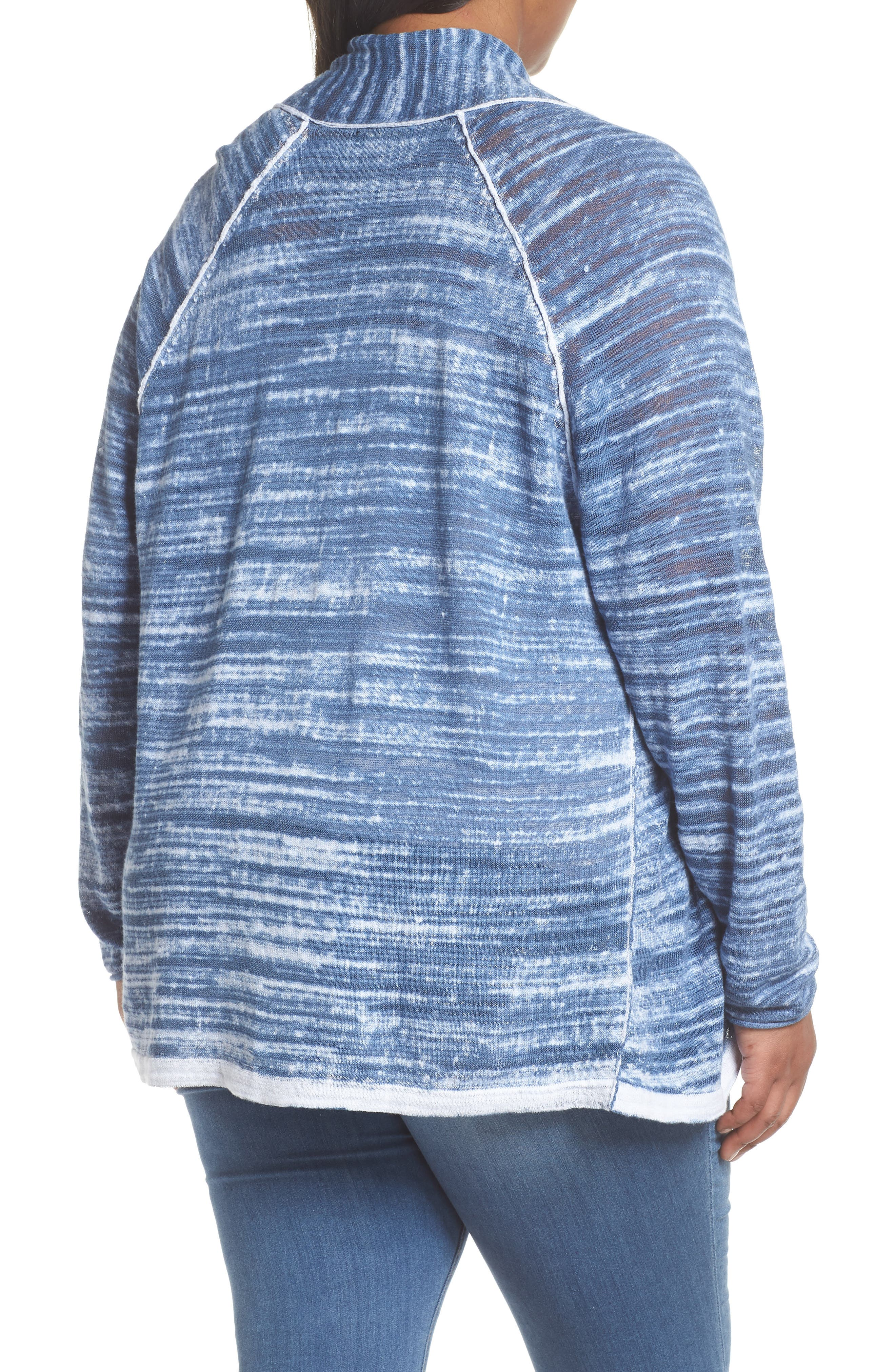 Sand Dune Ruched Sleeve Cardigan,                             Alternate thumbnail 2, color,                             Mosaic Blue