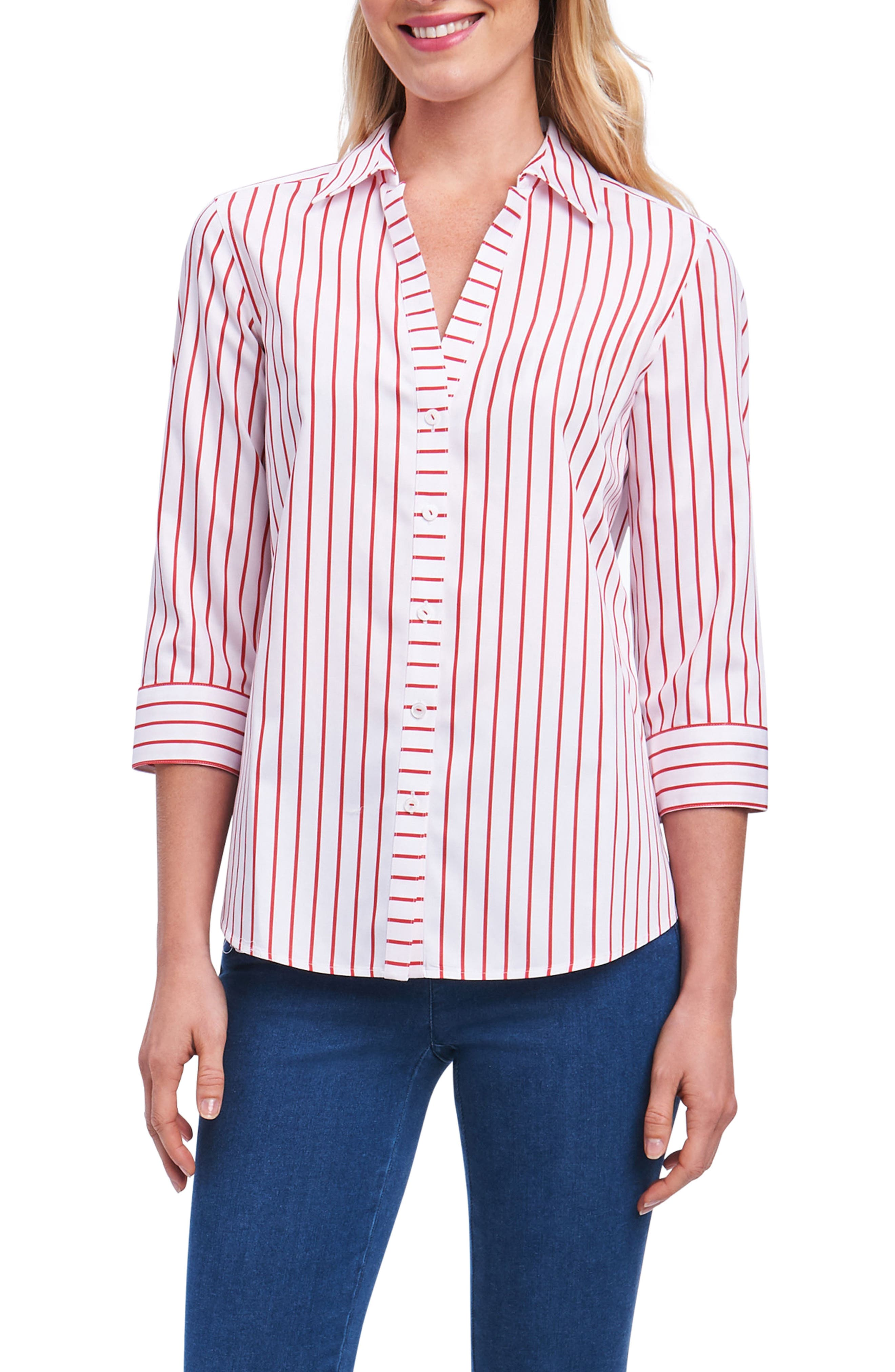 Foxcroft Clio Sateen Stripe Shirt (Regular & Petite)